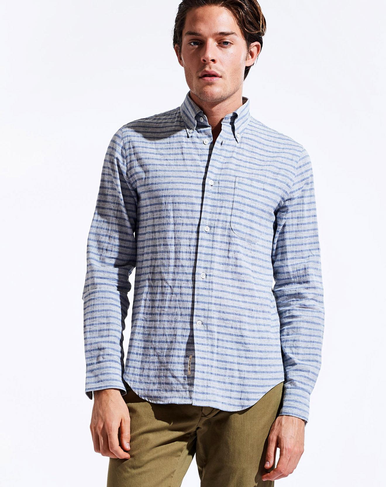 Chemise à rayures en Coton & Lin Goat bleu clair