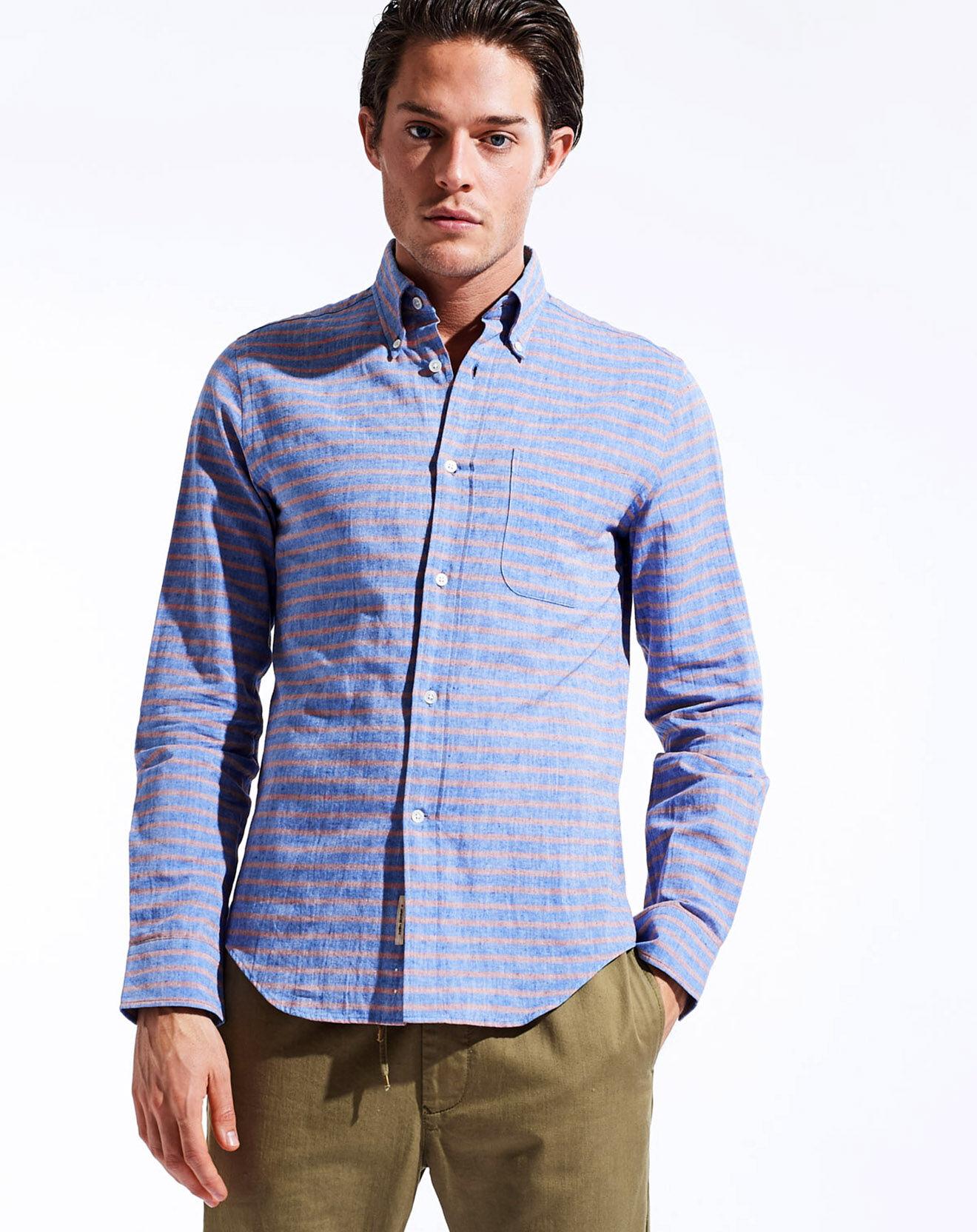 Chemise à rayures en Coton & Lin Goat bleu/rose