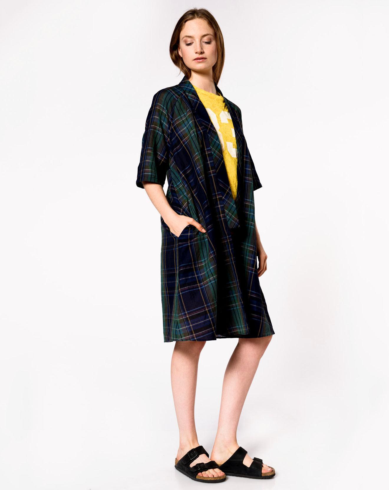 Surchemise longue à carreaux en Coton & Lin Light vert/noir