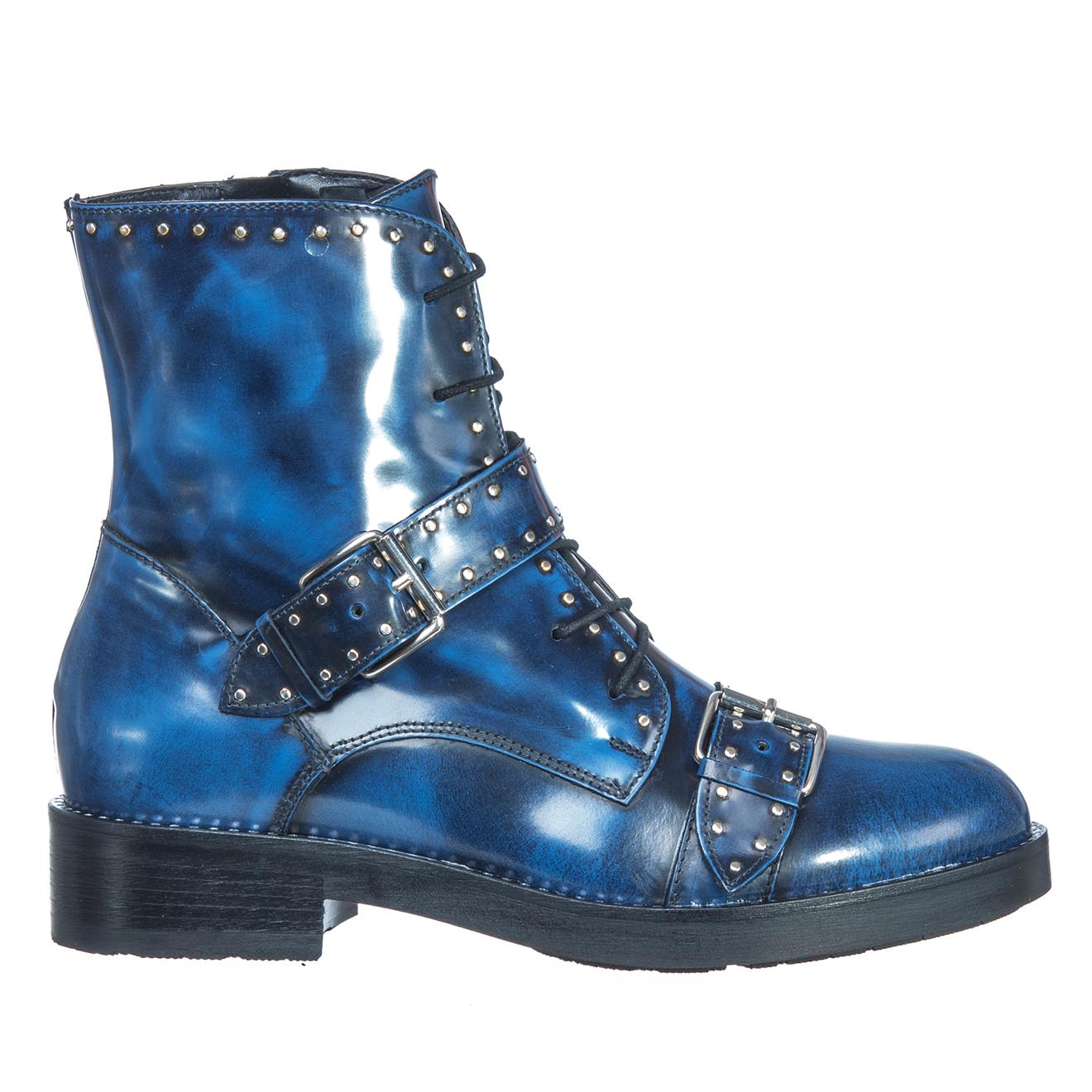 Boots en Cuir Marine bleues