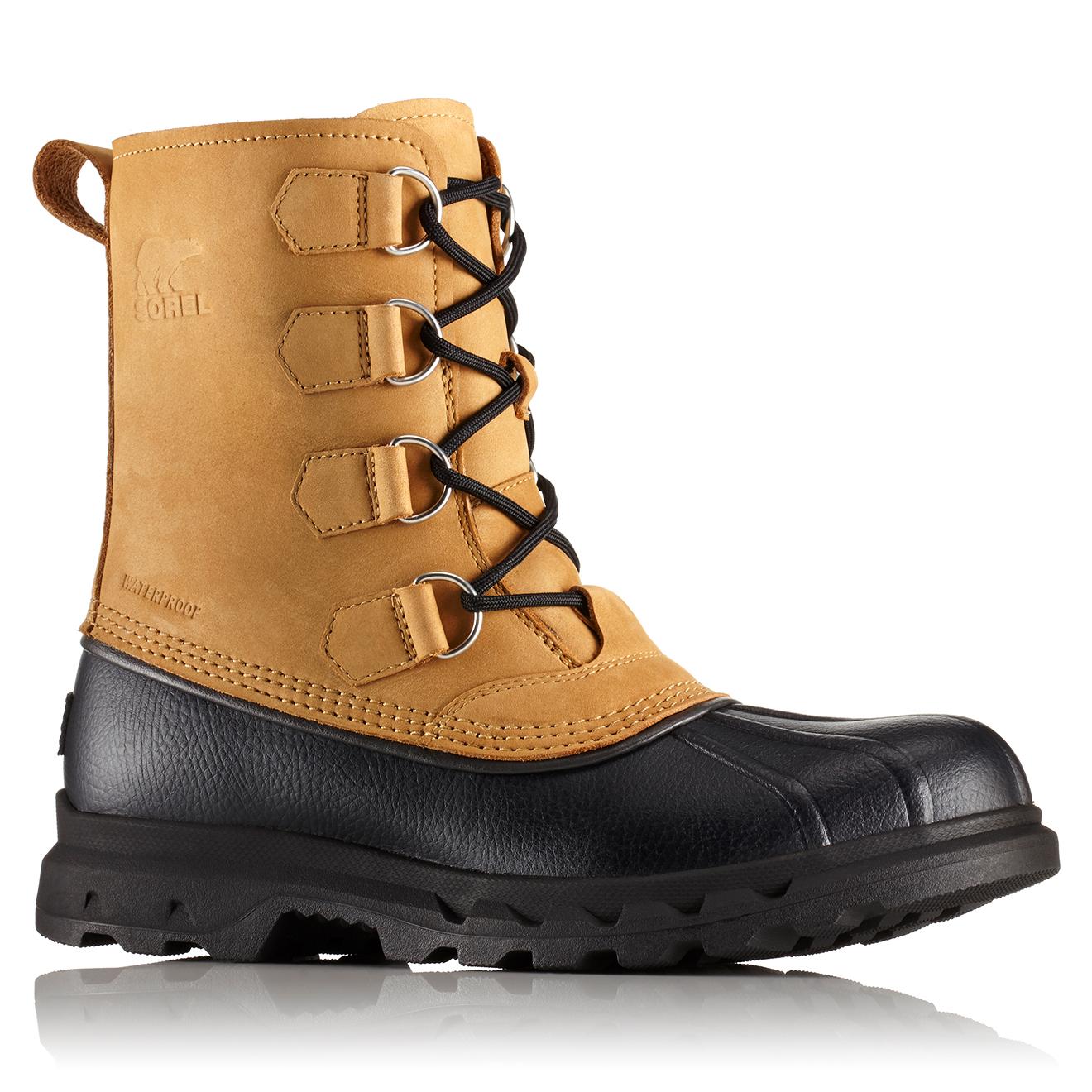 Boots de pluie imperméables en Velours de Cuir Portzman Classic beige/noir - Sorel - Modalova