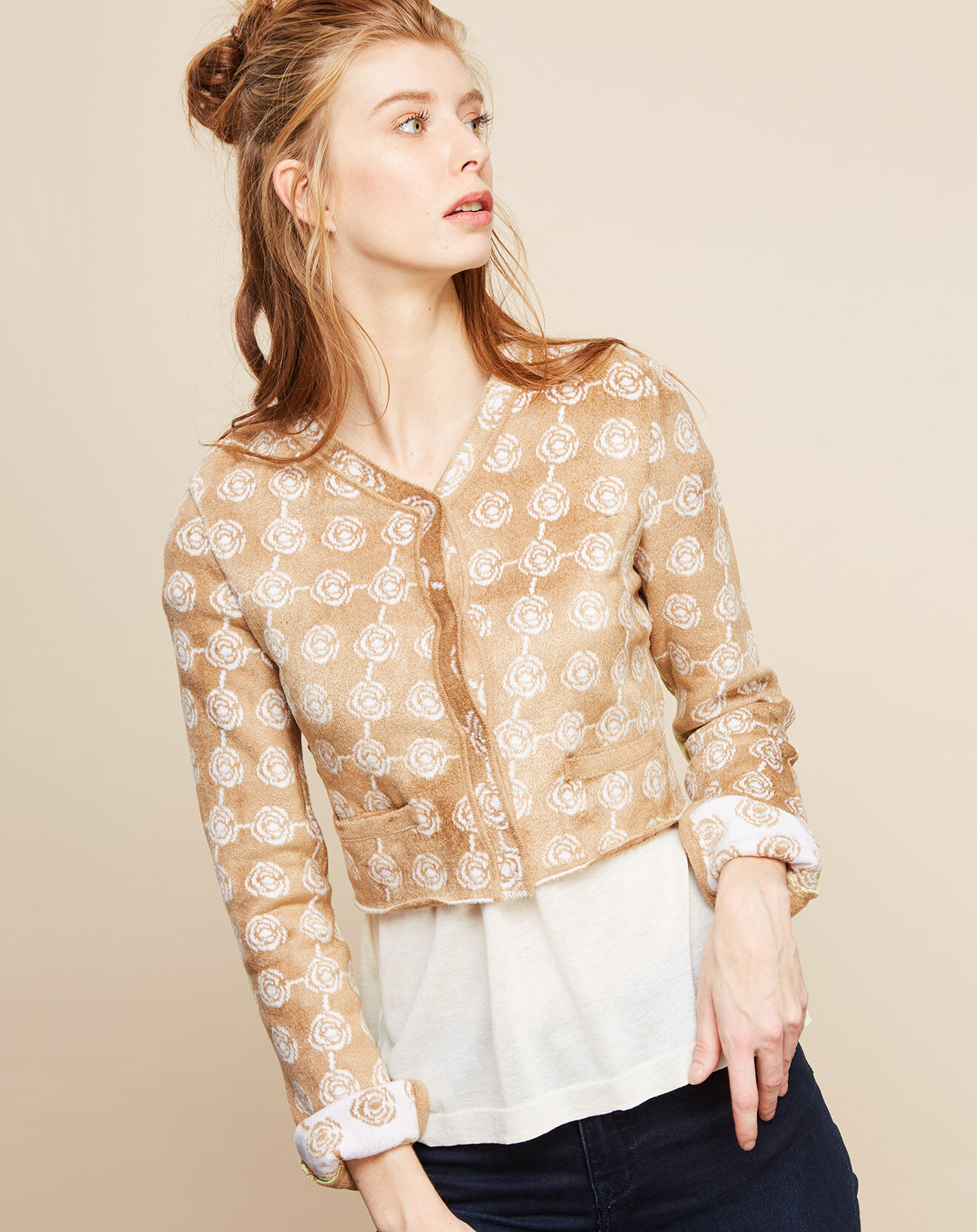 Cardigan Sonia camel/nacre/chartreuse