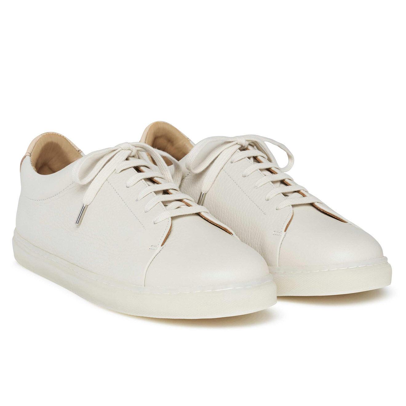 Sneakers en Cuir grainé Martel écrues