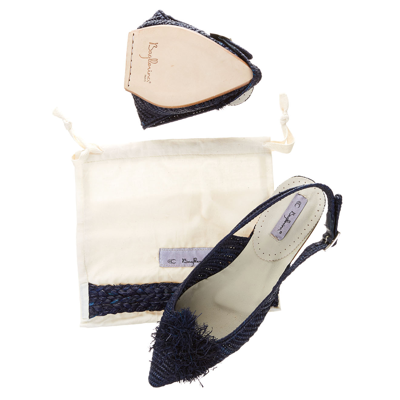 Sandales pliables Raphia bleu marine