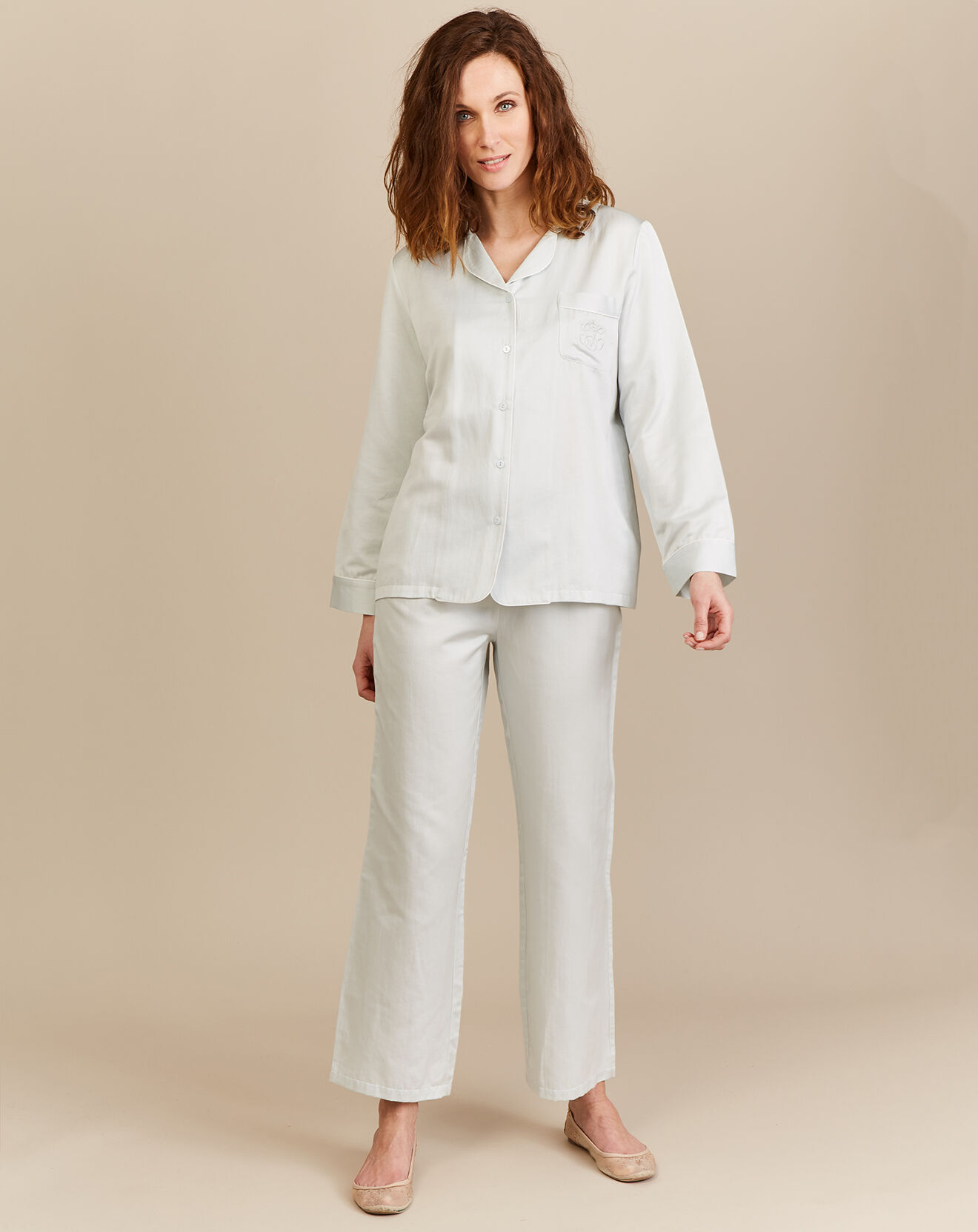 Pyjama reflet de Satin Coton/Polyester jade