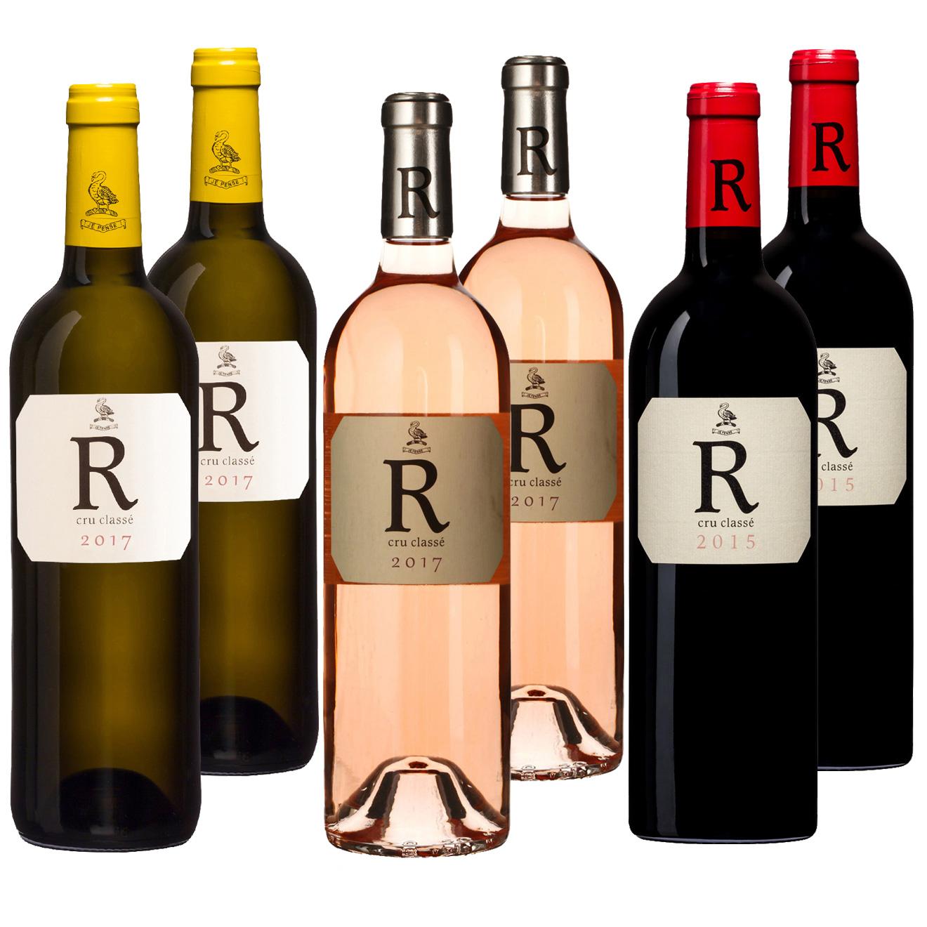 Lot de 2 Blancs 2017 + 2 Rosés 2017 + 2 Rouges 2015 R de Rimauresq 6x75cl