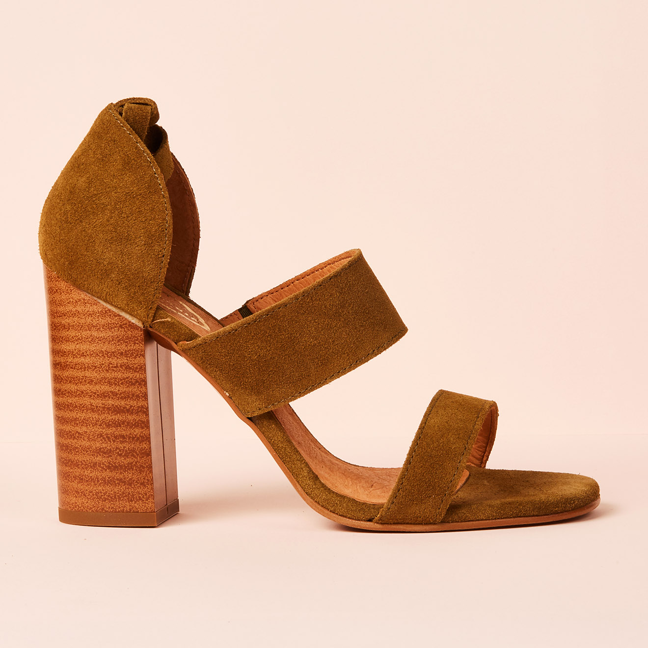 Sandales en Velours de Cuir kaki - Talon 10 cm - Apologie - Modalova