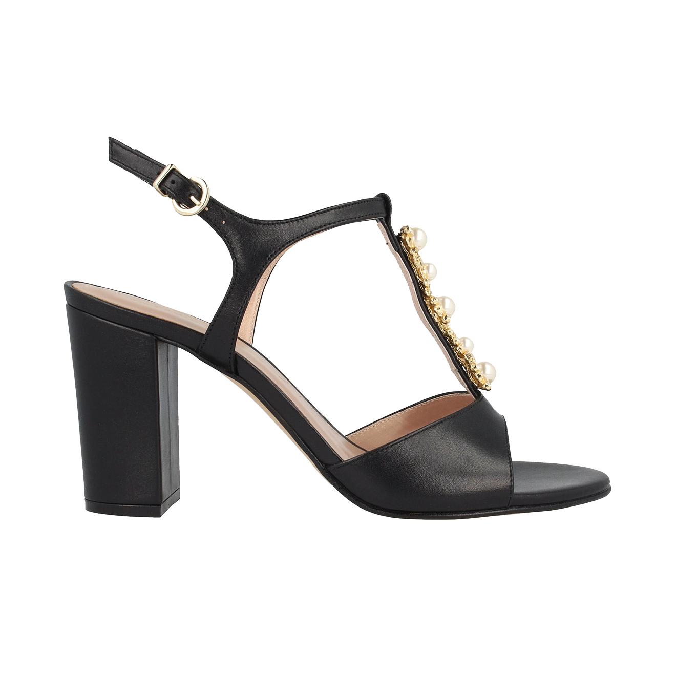 Sandales en cuir  noires Talon 8 cm