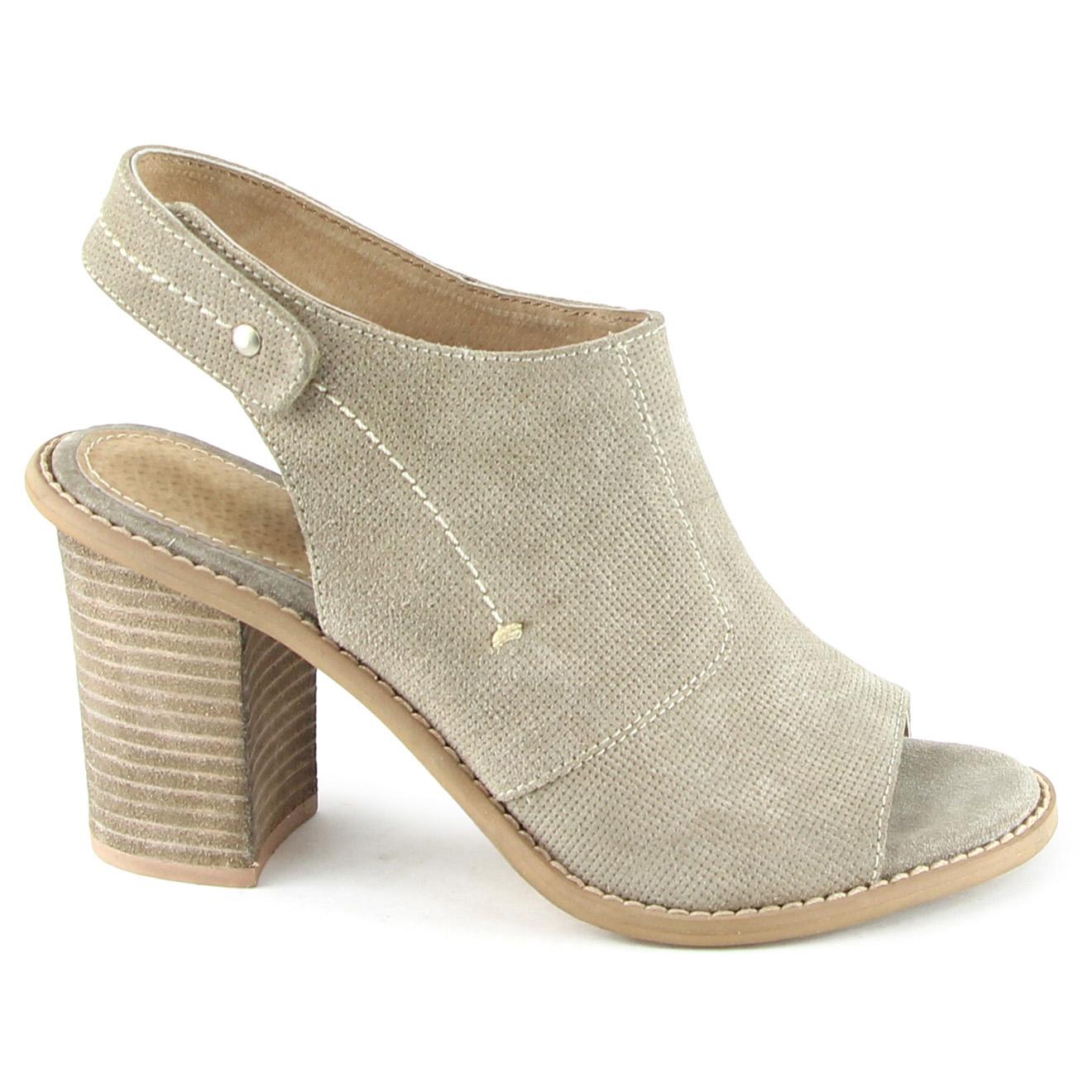 Sandales en Velours de Cuir Mia taupe Talon 8.5 cm