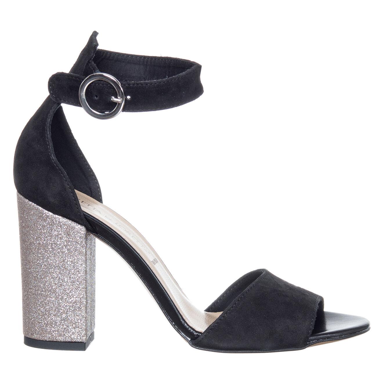 Sandales en Velours de Cuir Matilda noires - Talon 9 cm