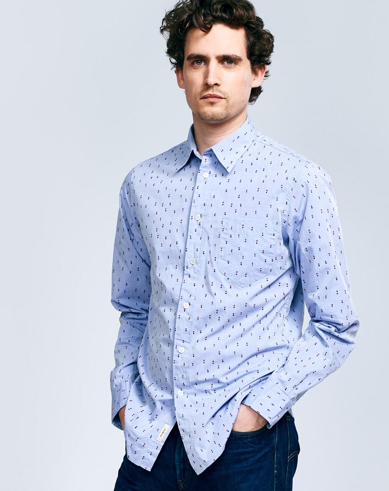 Chemise regular Glenh à pois bleu ciel