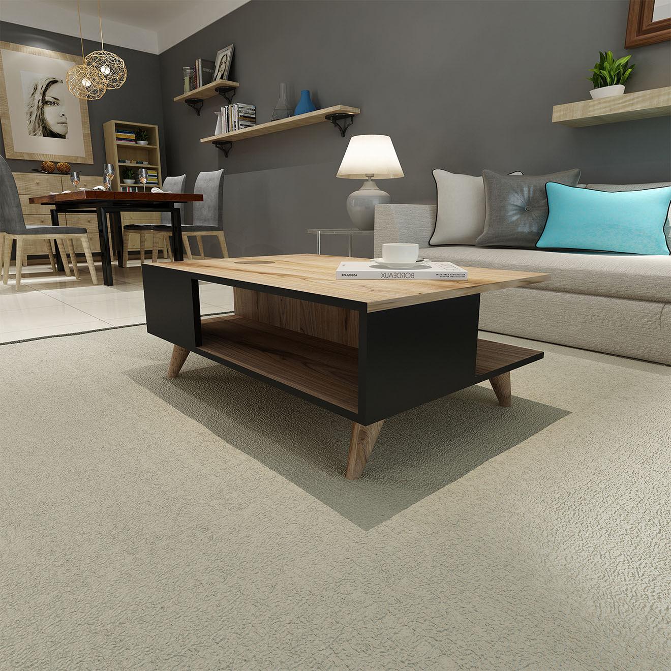 Table basse Lyon Noyer noir - 90x60x38.6 cm