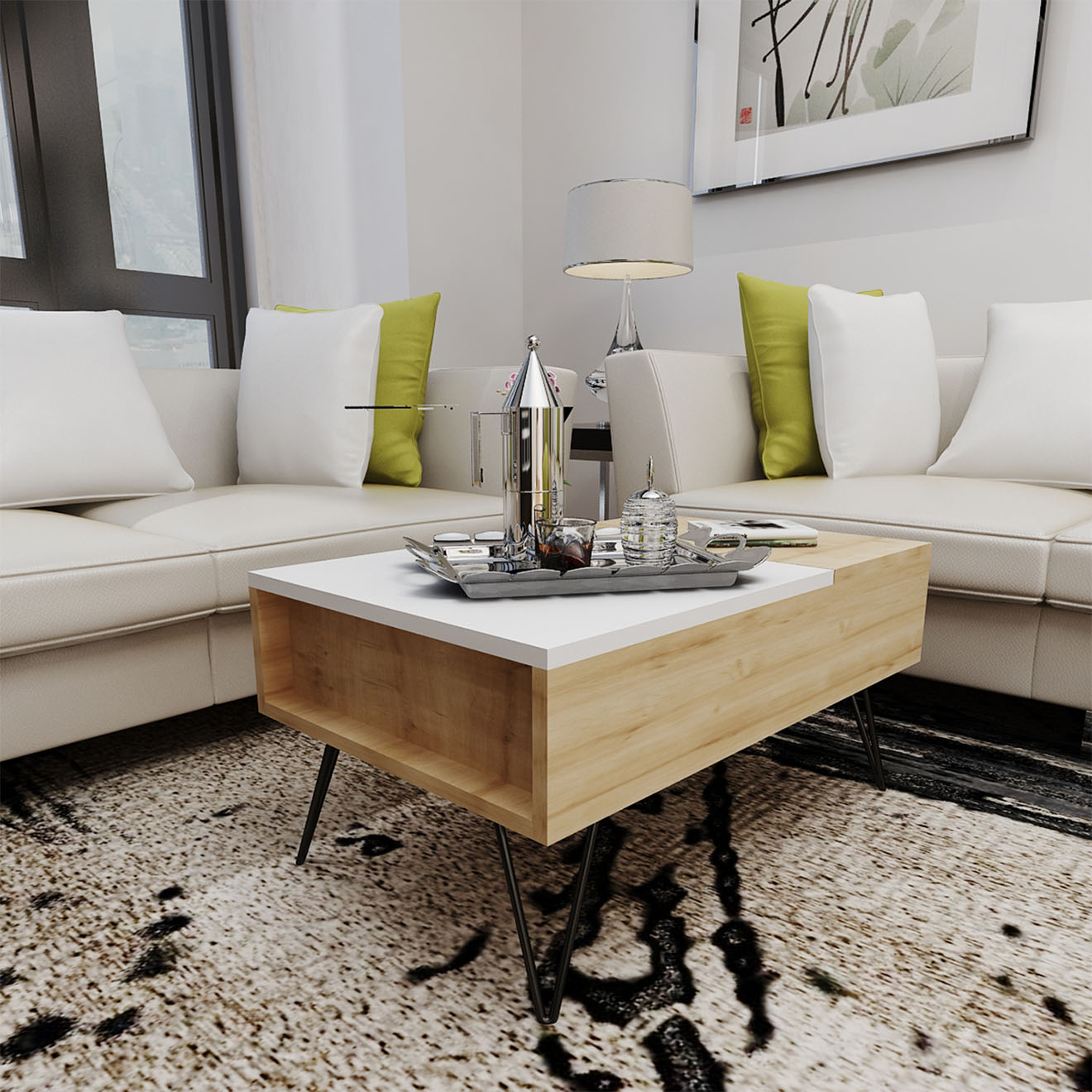 Table basse Mixa chêne blanc  - 80x50x38.6 cm