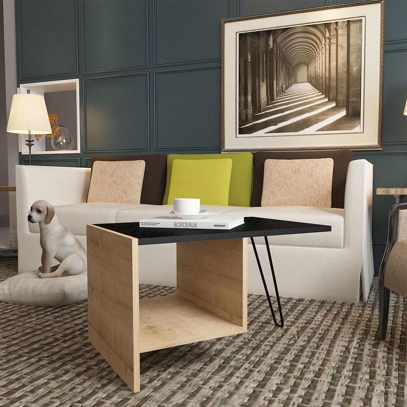 Table basse Loop chêne/noir - 71.8x50x45 cm