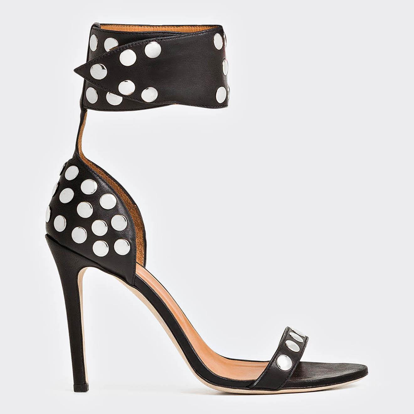 Sandales en Cuir d'Agneau Sandarok noires - Talon 10 cm