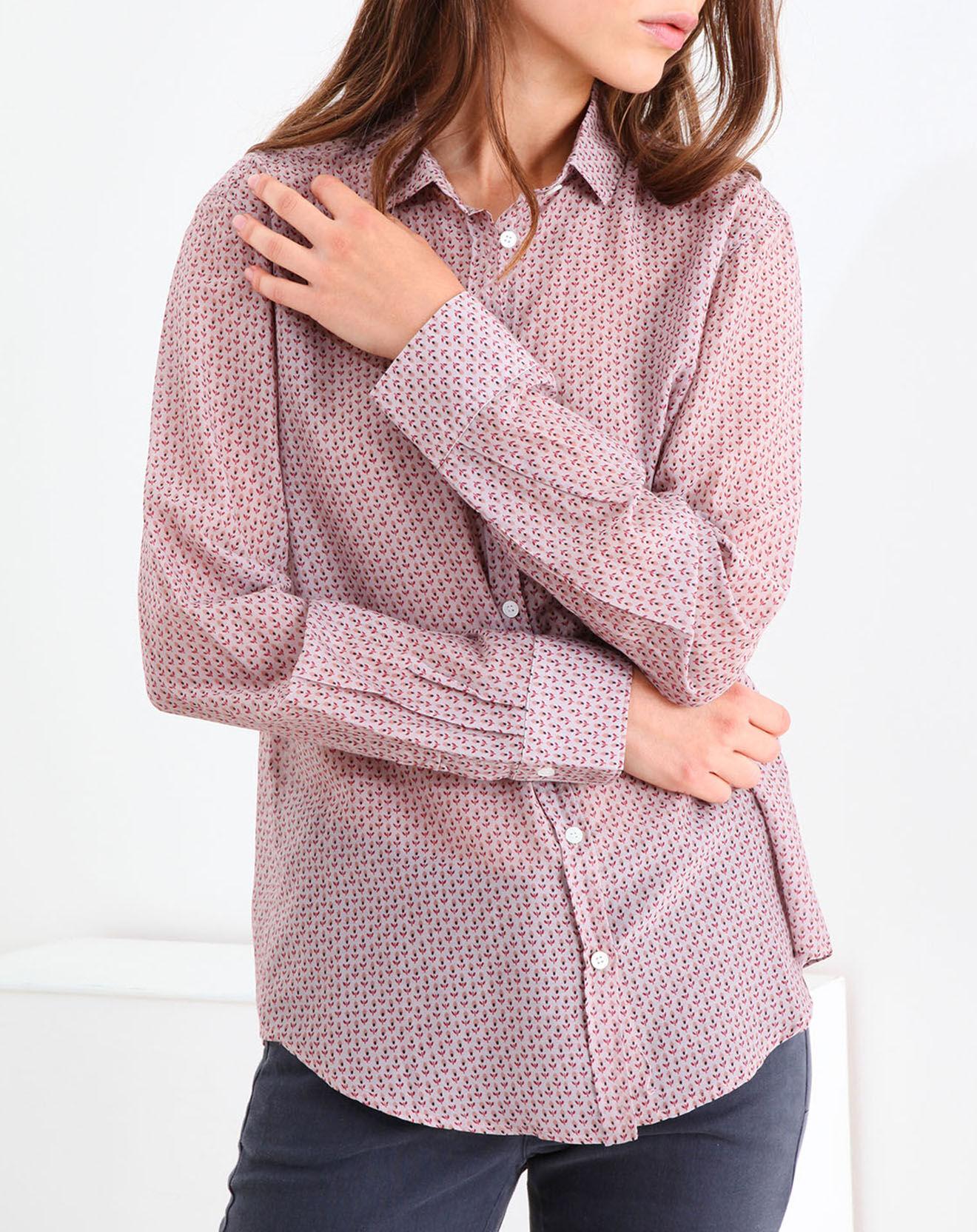 Chemise en Coton & Soie Corazon à motifs rose/rouge