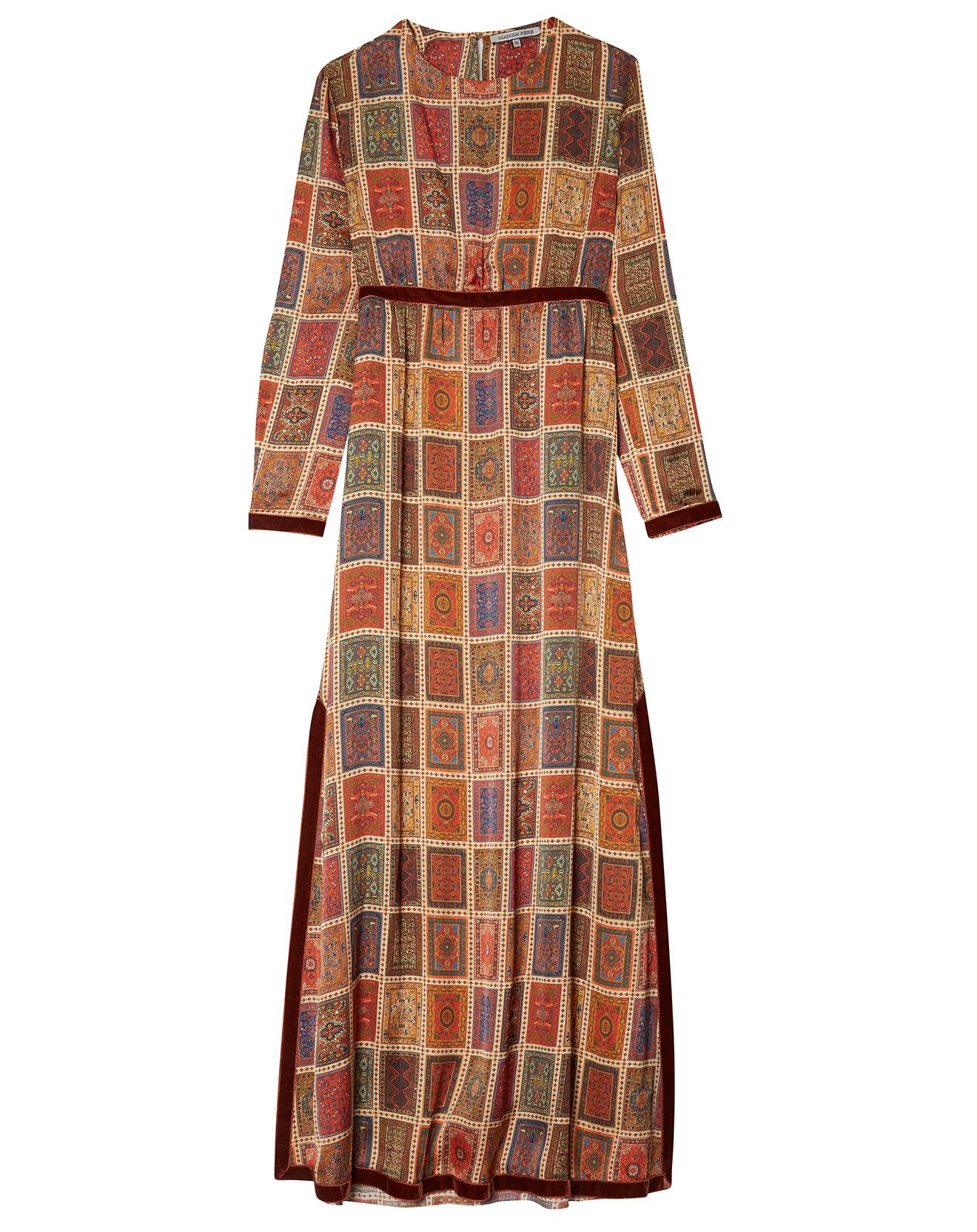 Robe à carreaux marron