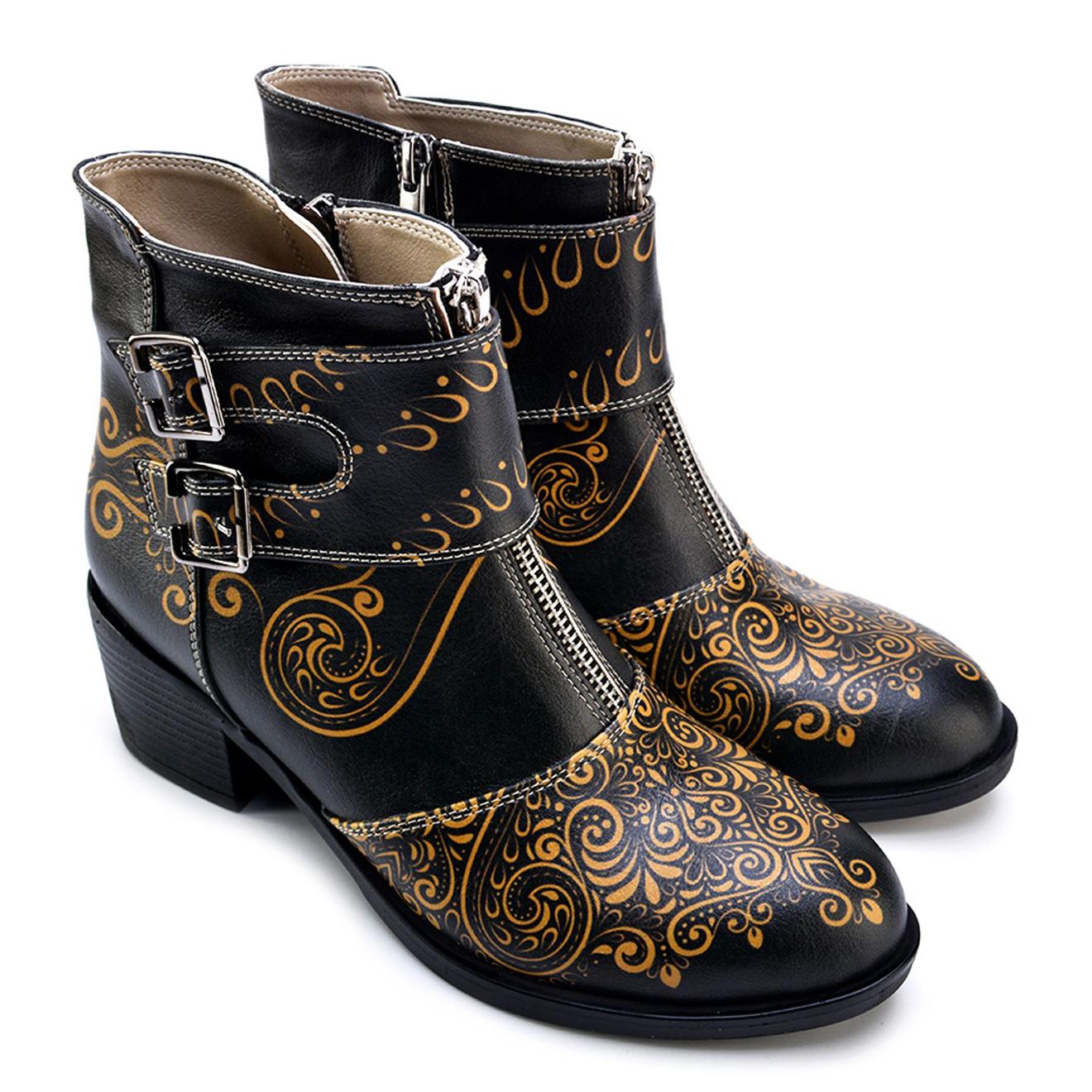 Boots Olivia noir/jaune - Talon 5 cm - Goby - Modalova