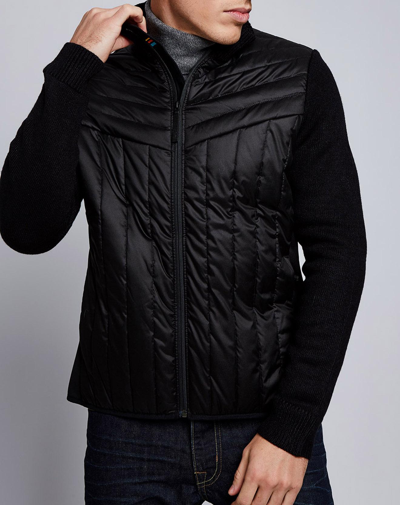 Veste fine zippée bimatière noire