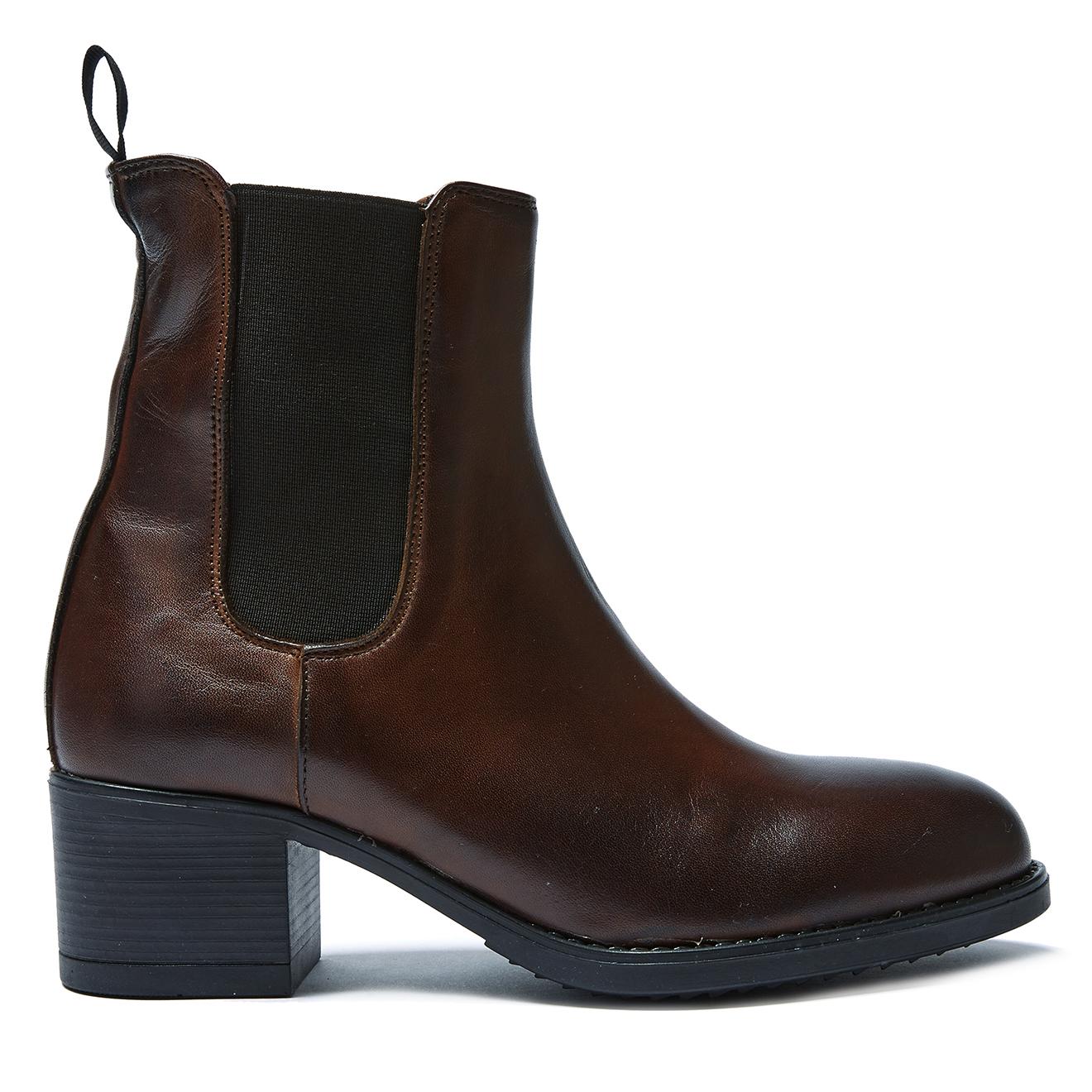 Chelsea Boots en Cuir Emmanuelle marron foncé - Talon 5 cm