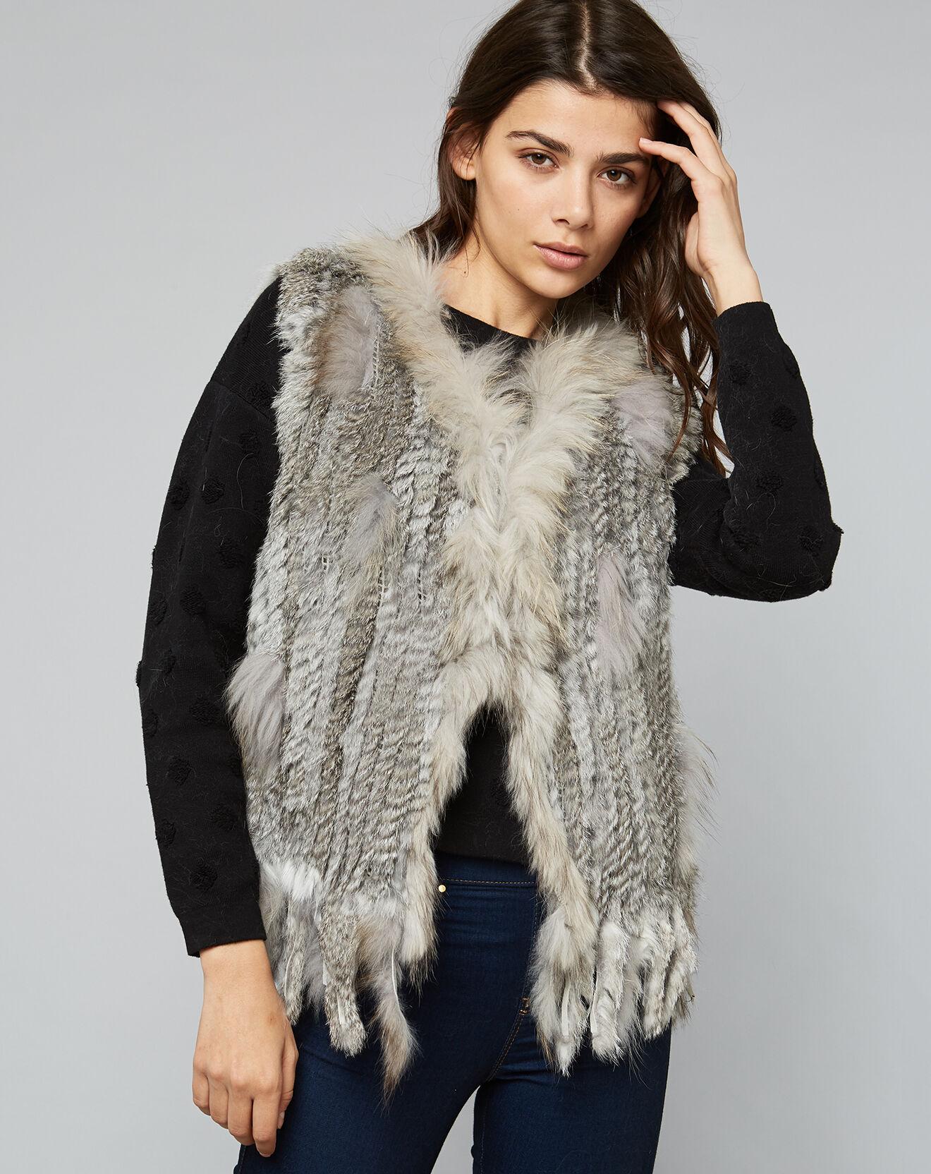 Gilet en Fourrure de Lapin & Raccoon Nora gris chiné