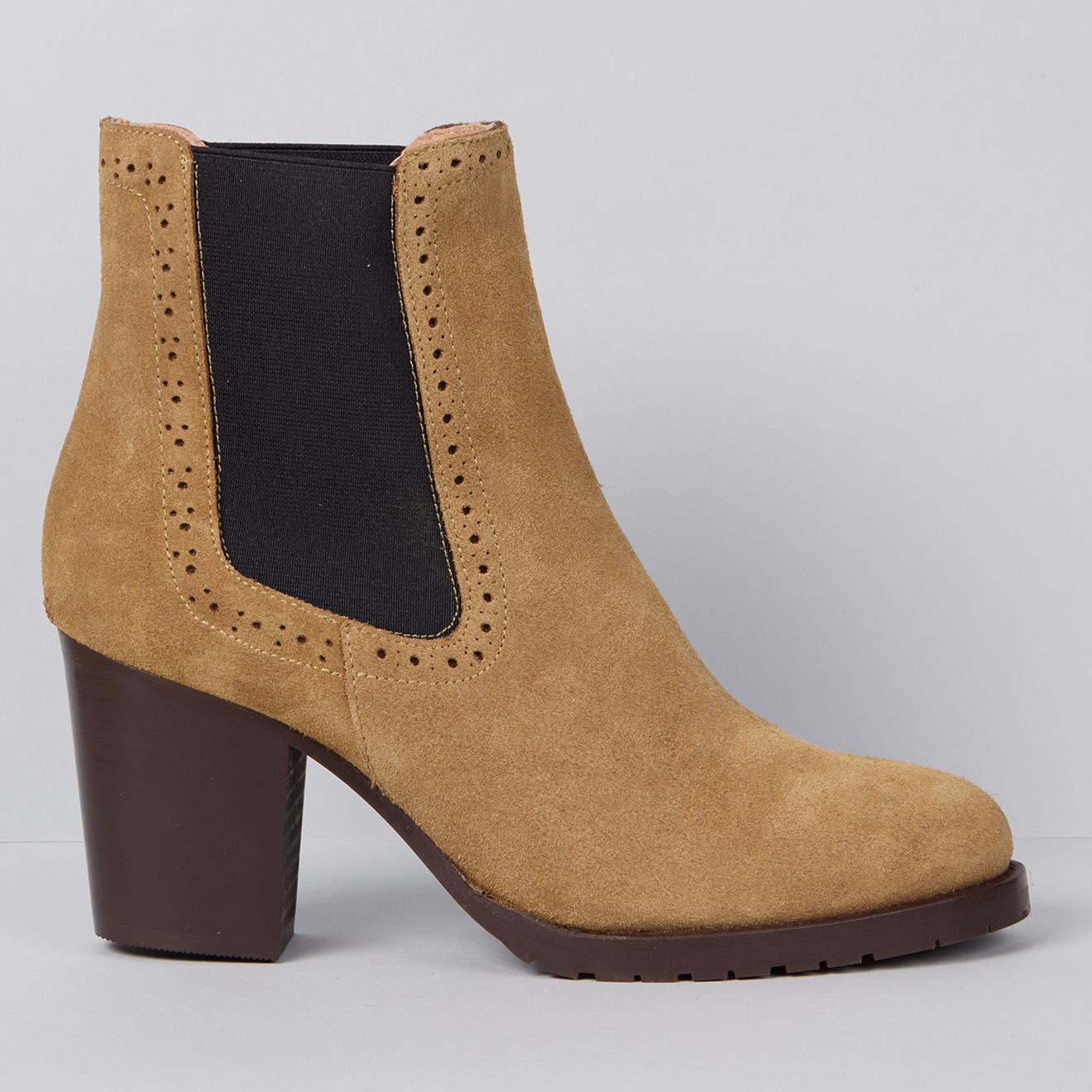 Chelsea Boots en Velours de Cuir Nathalie safari - Talon 7.5 cm - Apologie - Modalova