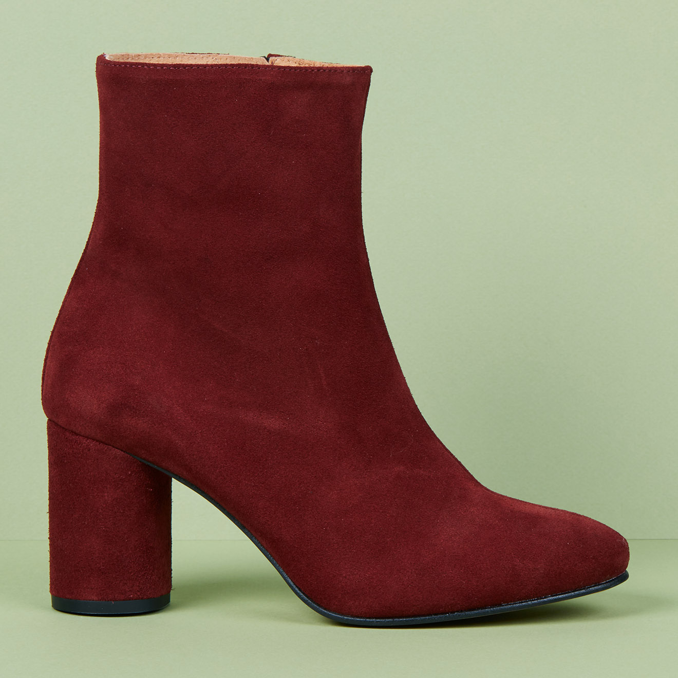 Bottines en Velours de Cuir bordeaux - Talon 7.5 cm - Apologie - Modalova