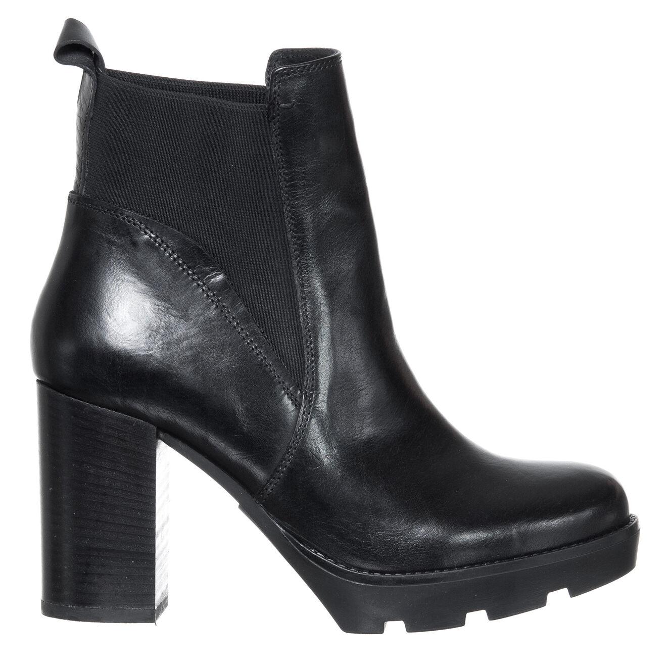 Chelsea boots en Cuir Camille noires - Talon 11 cm - Loretta by Loretta - Modalova