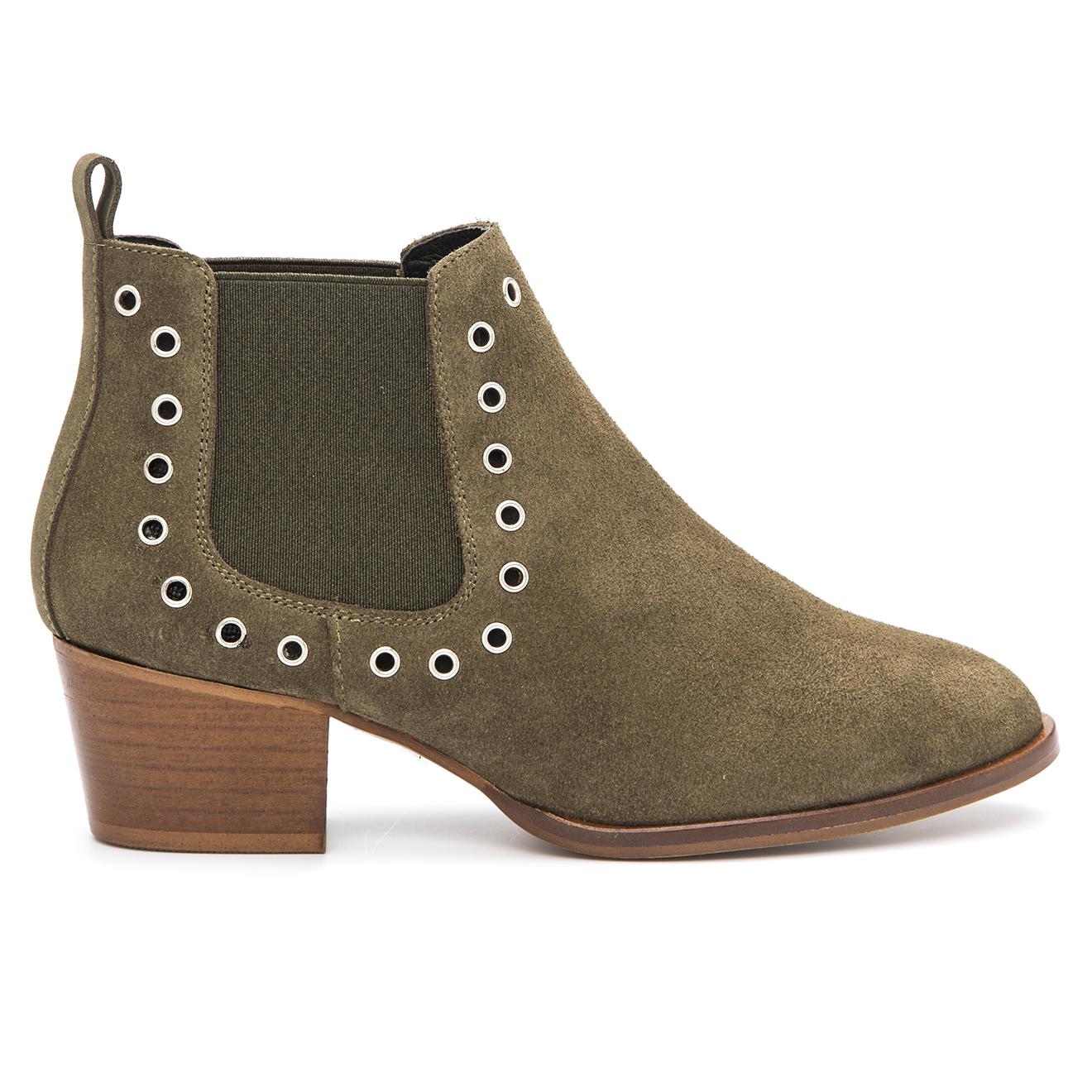 Chelsea Boots en Velours de Cuir Vilma kaki
