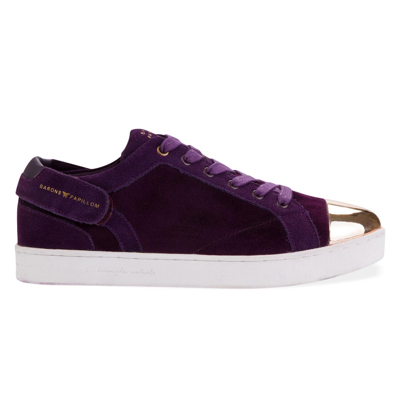 Sneakers en Velours de Cuir Barons Low violettes