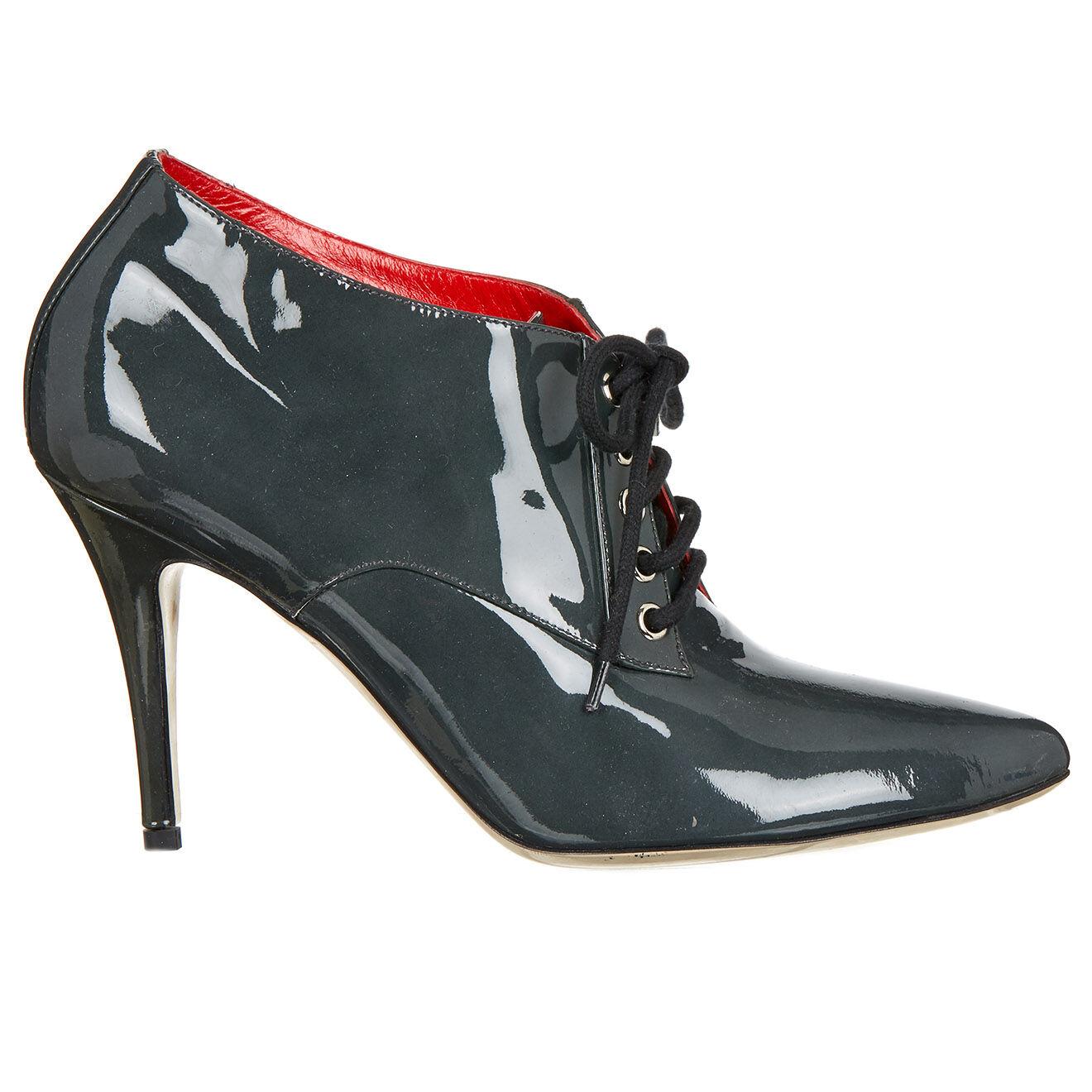 Low boots en Cuir verni grises - Talons 9 cm