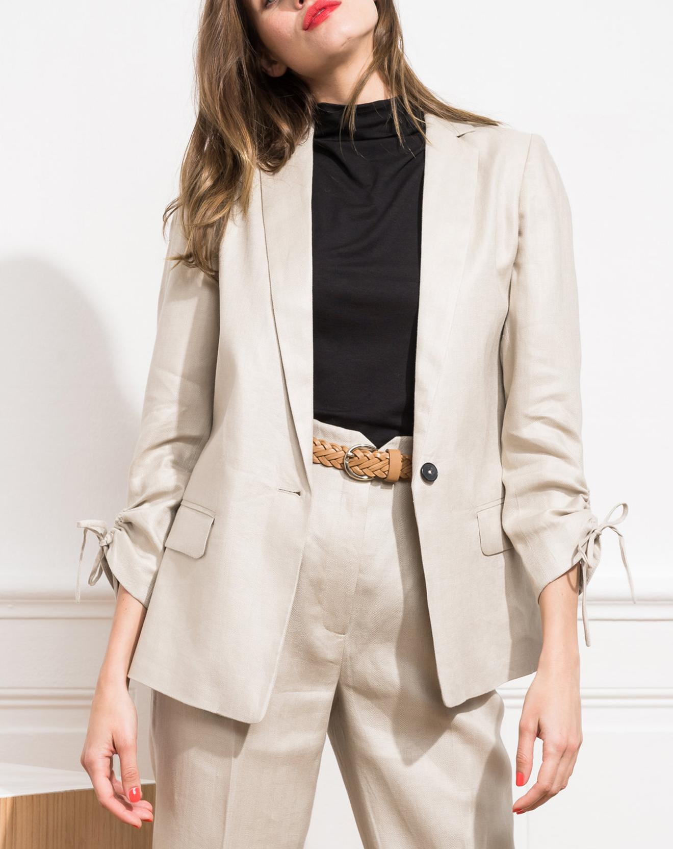 Blazer 100% Lin Jeanne beige - Caroll - Modalova