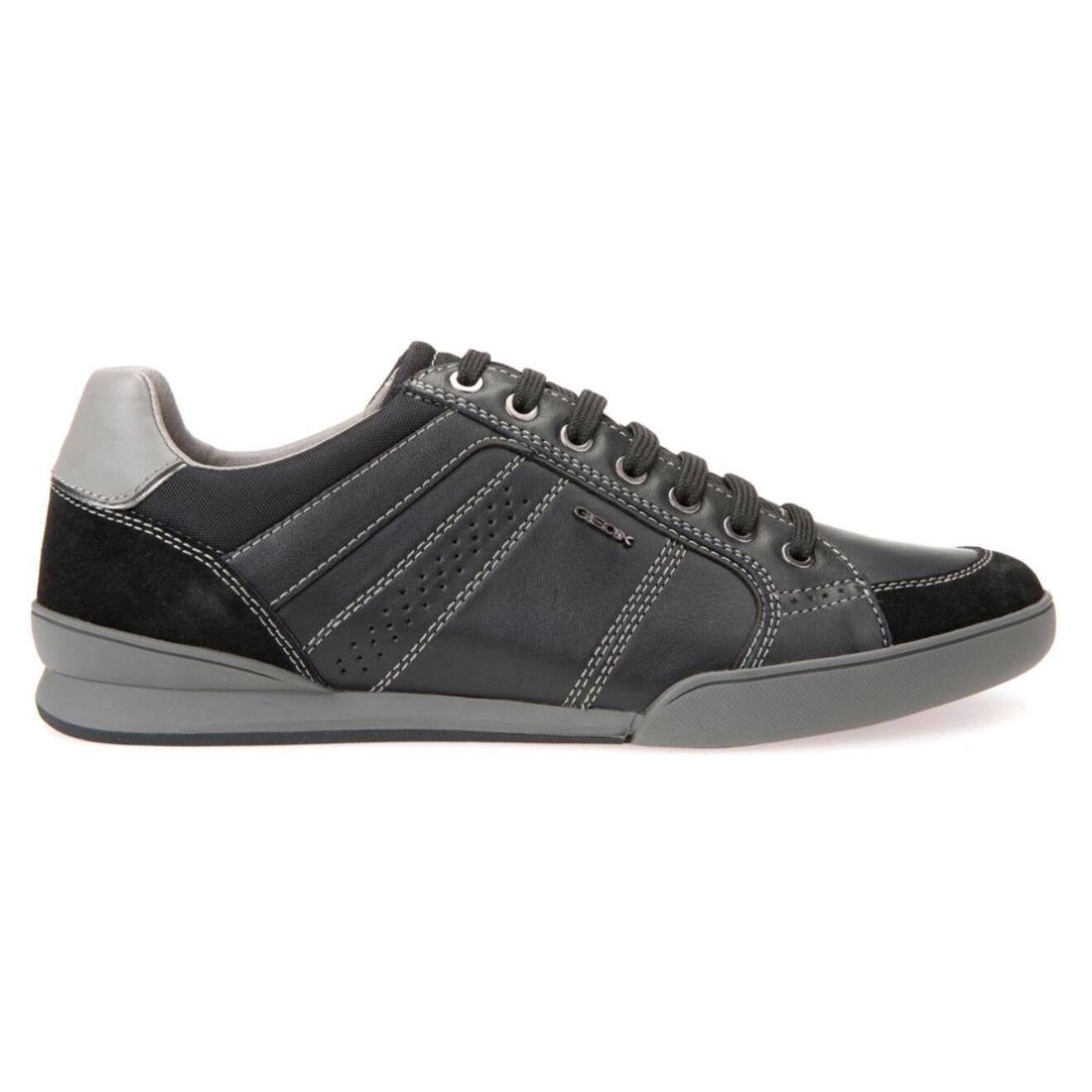 Baskets en Cuir & Velours de Cuir noir/gris - Geox - Modalova