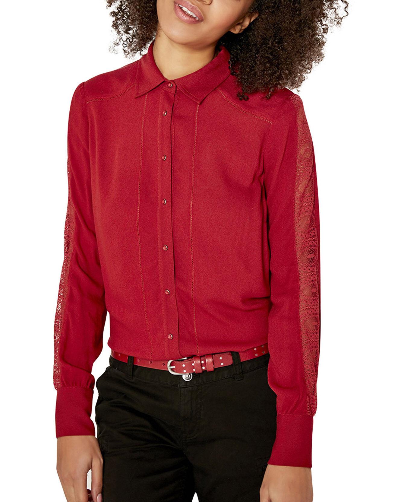Chemise Classique avec Dentelle rouge