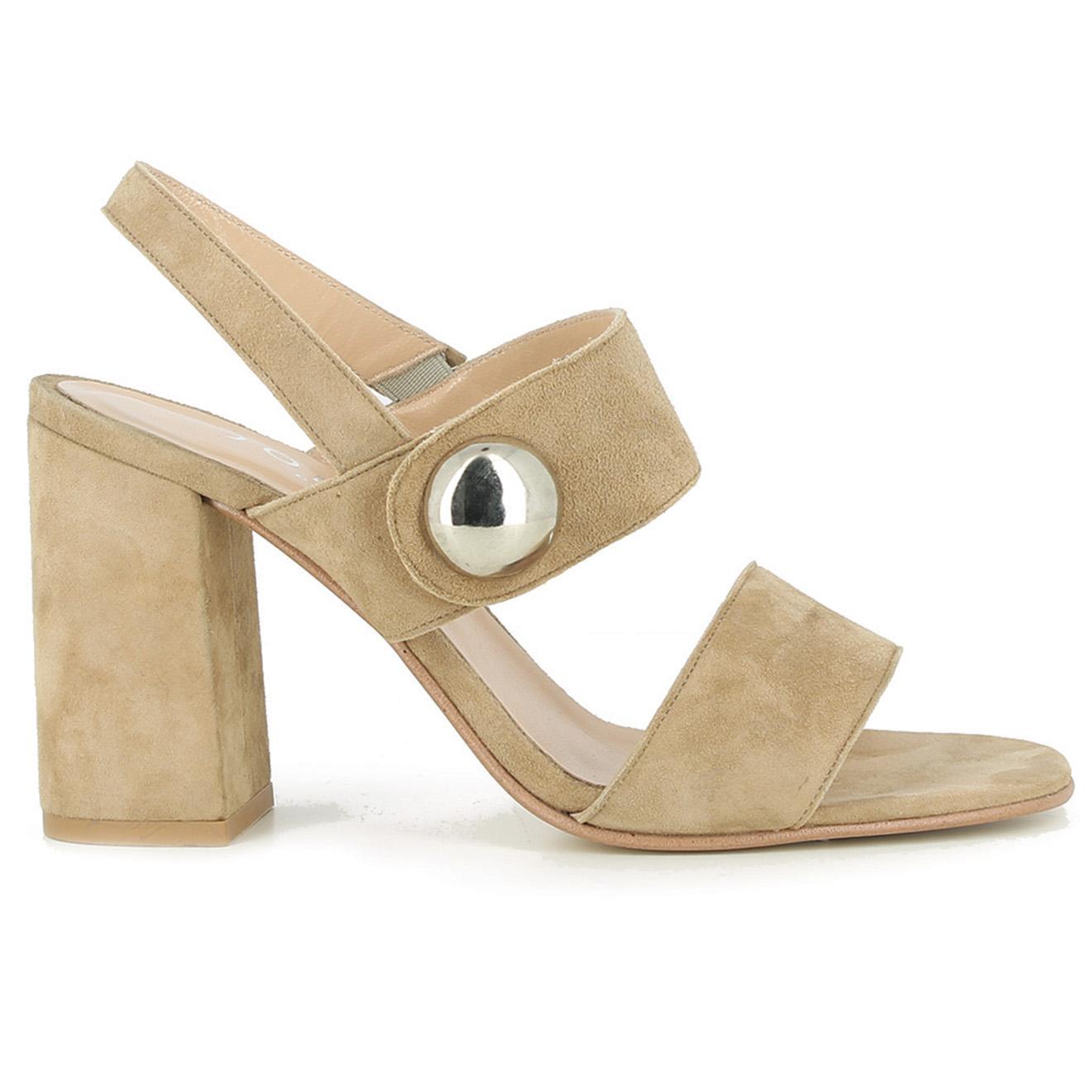 Sandales en Velours de Cuir Derika beiges - Talon 10 cm - Jonak - Modalova