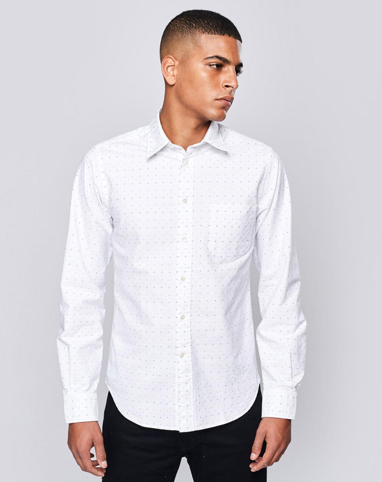 Chemise regular Glenh à pois blanche