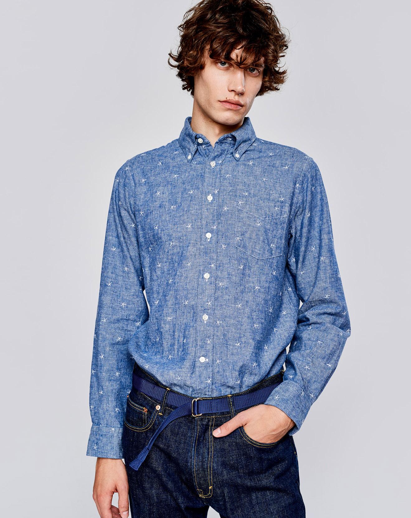 Chemise regular en Lin & Coton Goat à motifs étoiles bleue