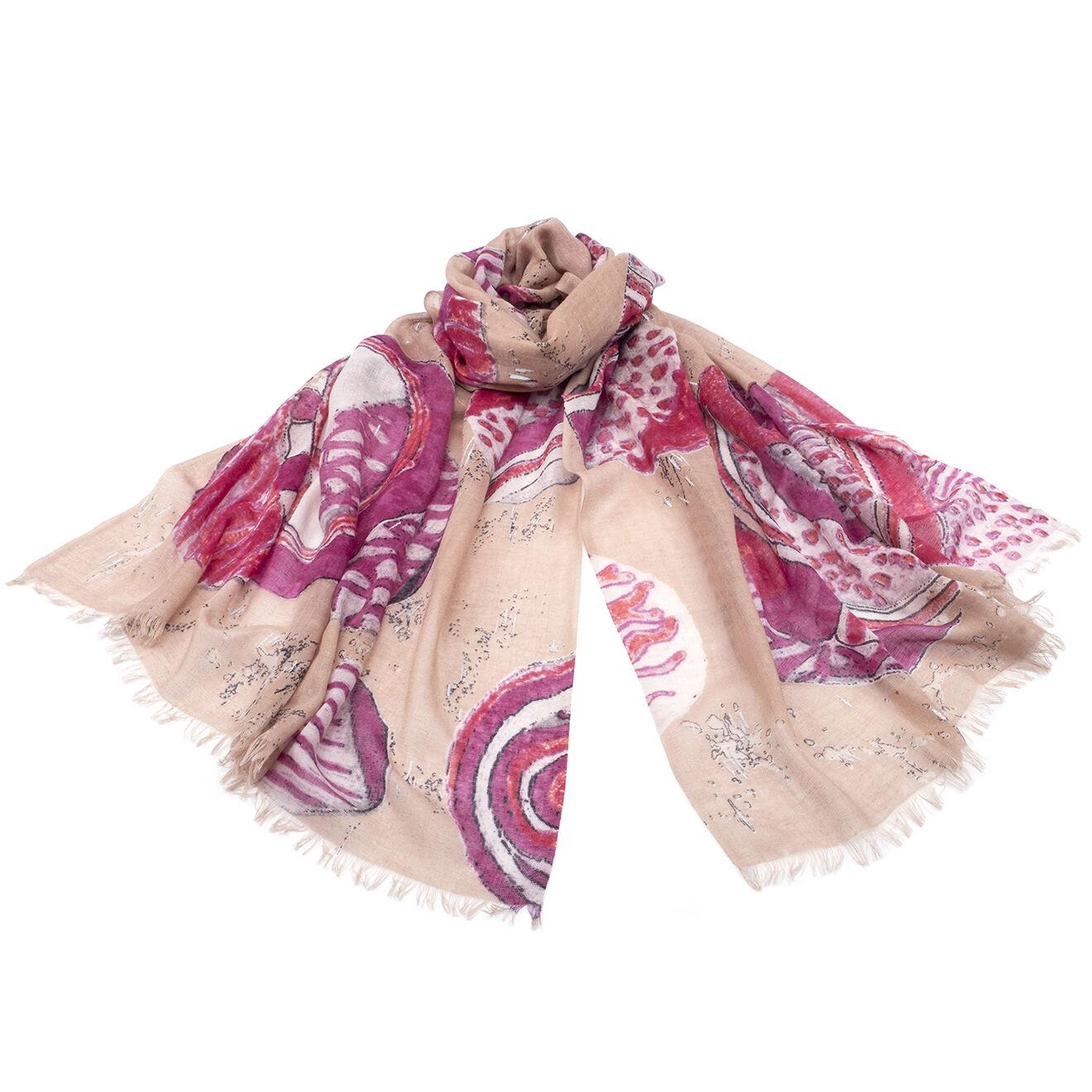 Foulard en Soie et Cachemire rose - 70x200 cm