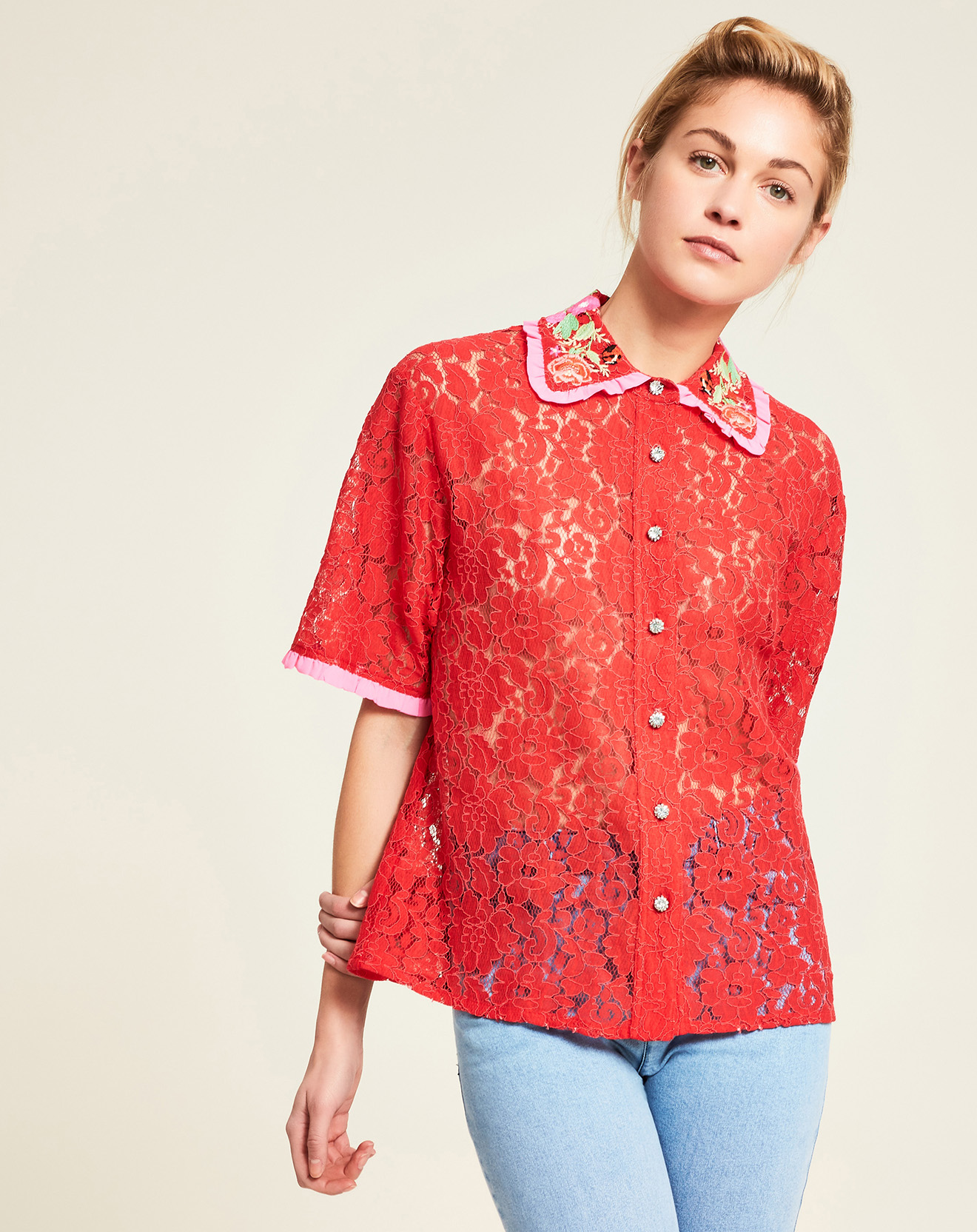 Chemise boutonné broderies dentelle Ladybug coquelicot