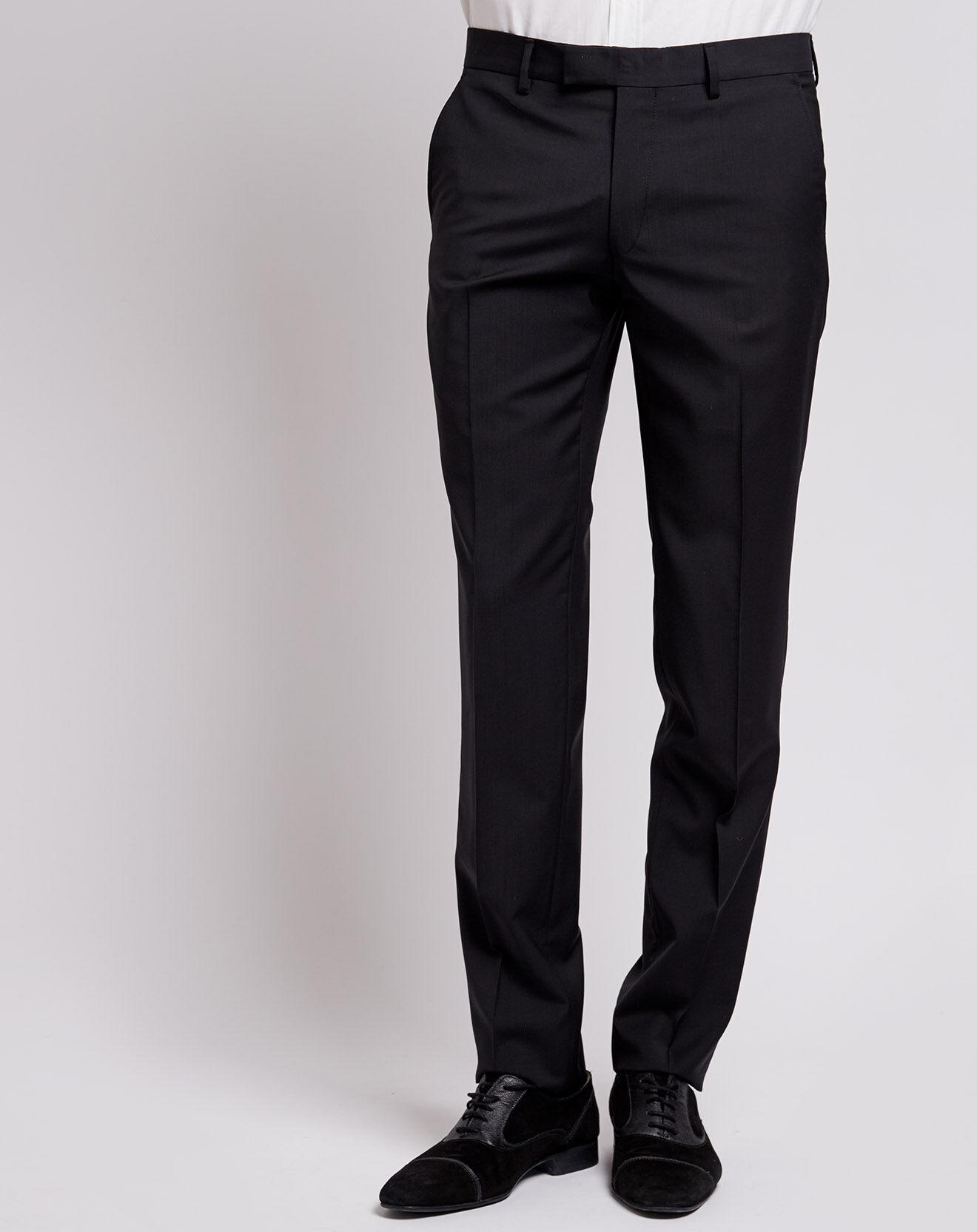 Pantalon 100% Laine Slim Super110 noir