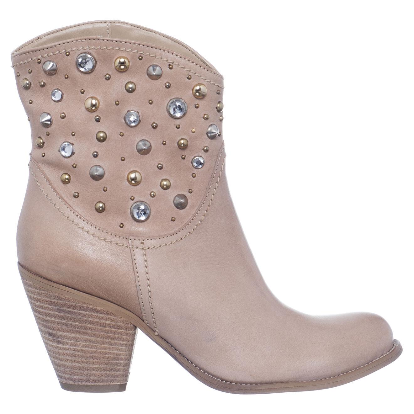 Boots en Cuir Corine beiges - Talon 8 cm