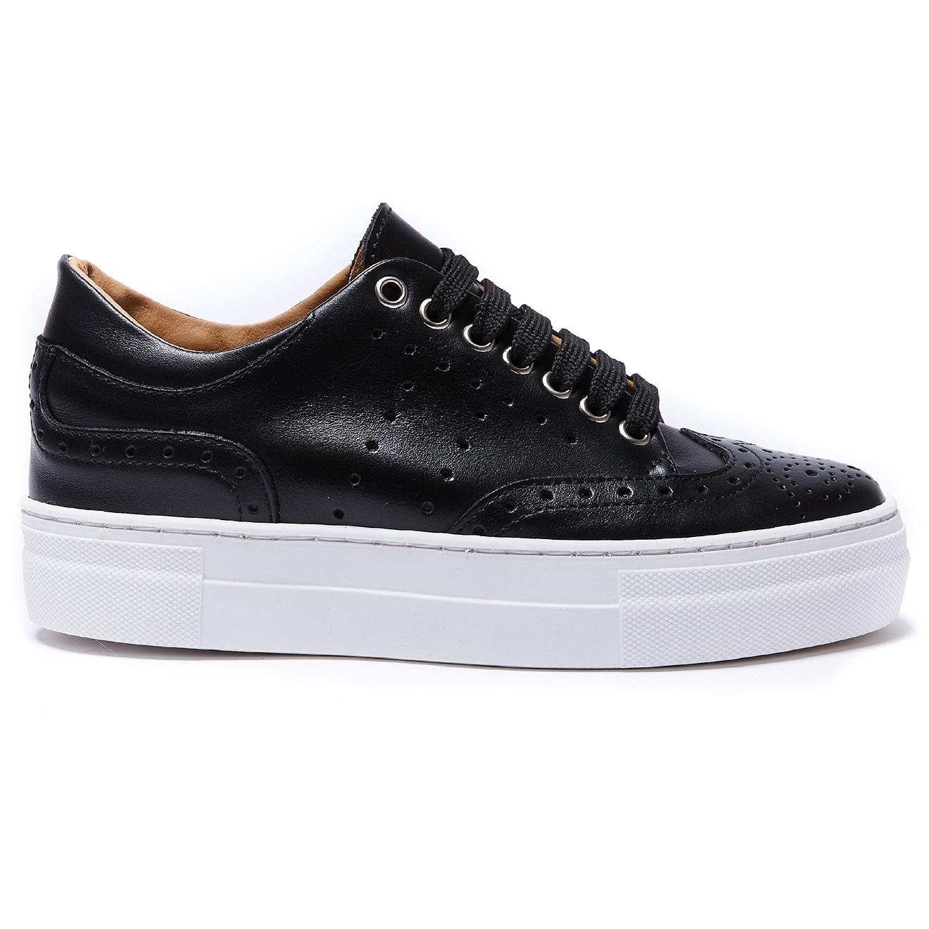 Sneakers en Cuir Wing Cap noires