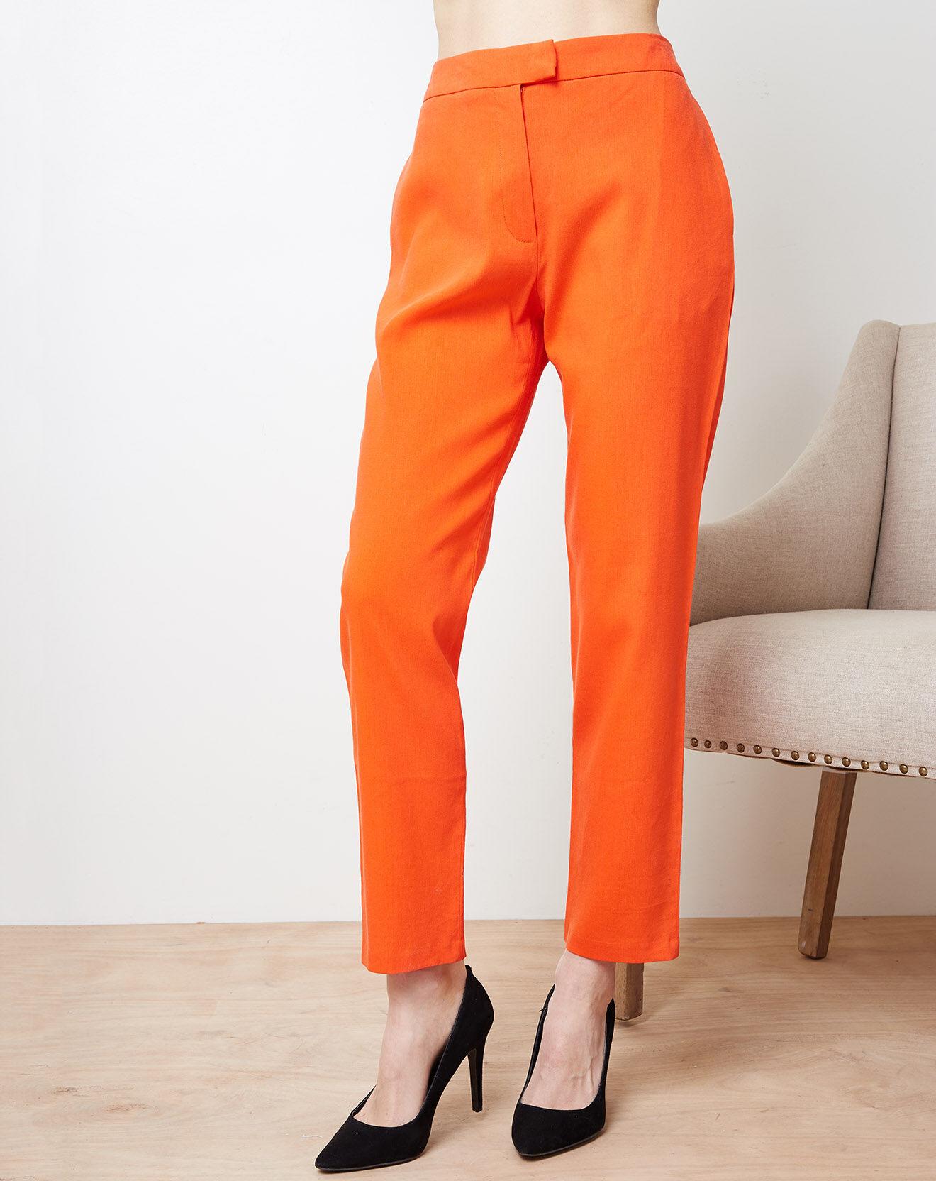 Pantalon en Lin mélangé Capri orange - Cacharel - Modalova