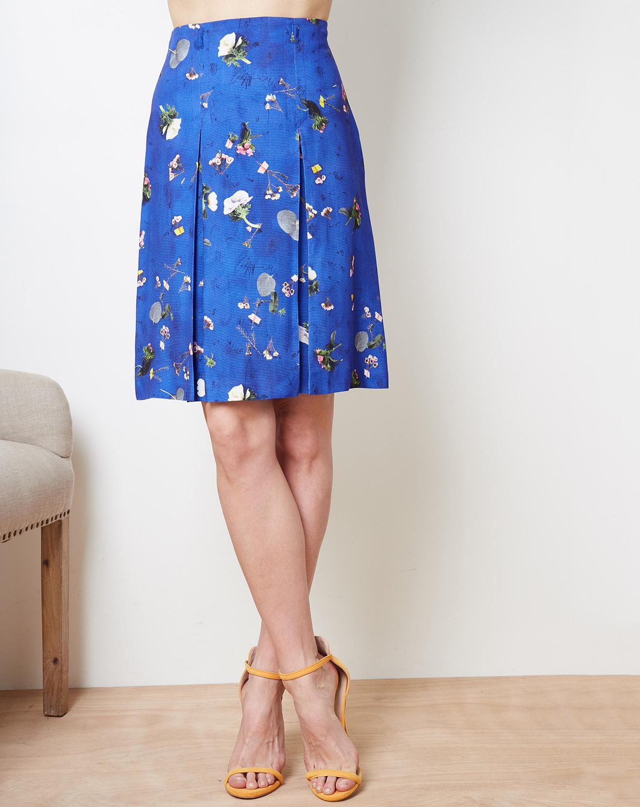 Jupe à plis creux imprimée floral bleue - Cacharel - Modalova