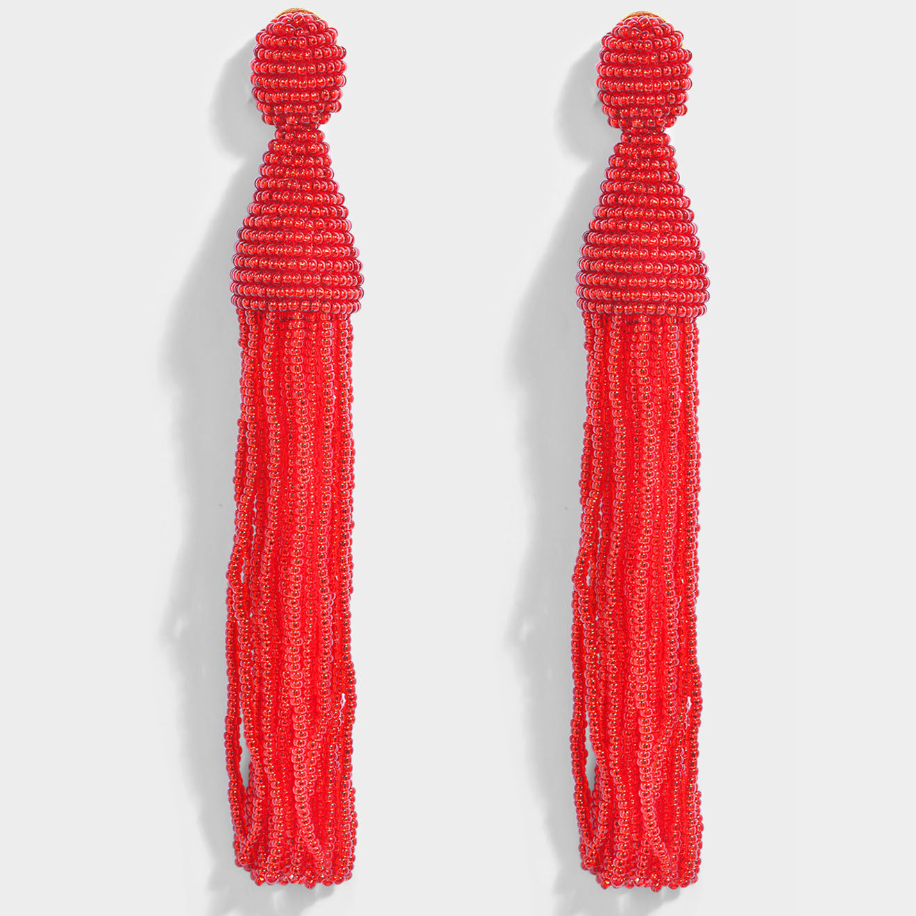 Boucles d'oreilles clip long Beaded Tassel rouges