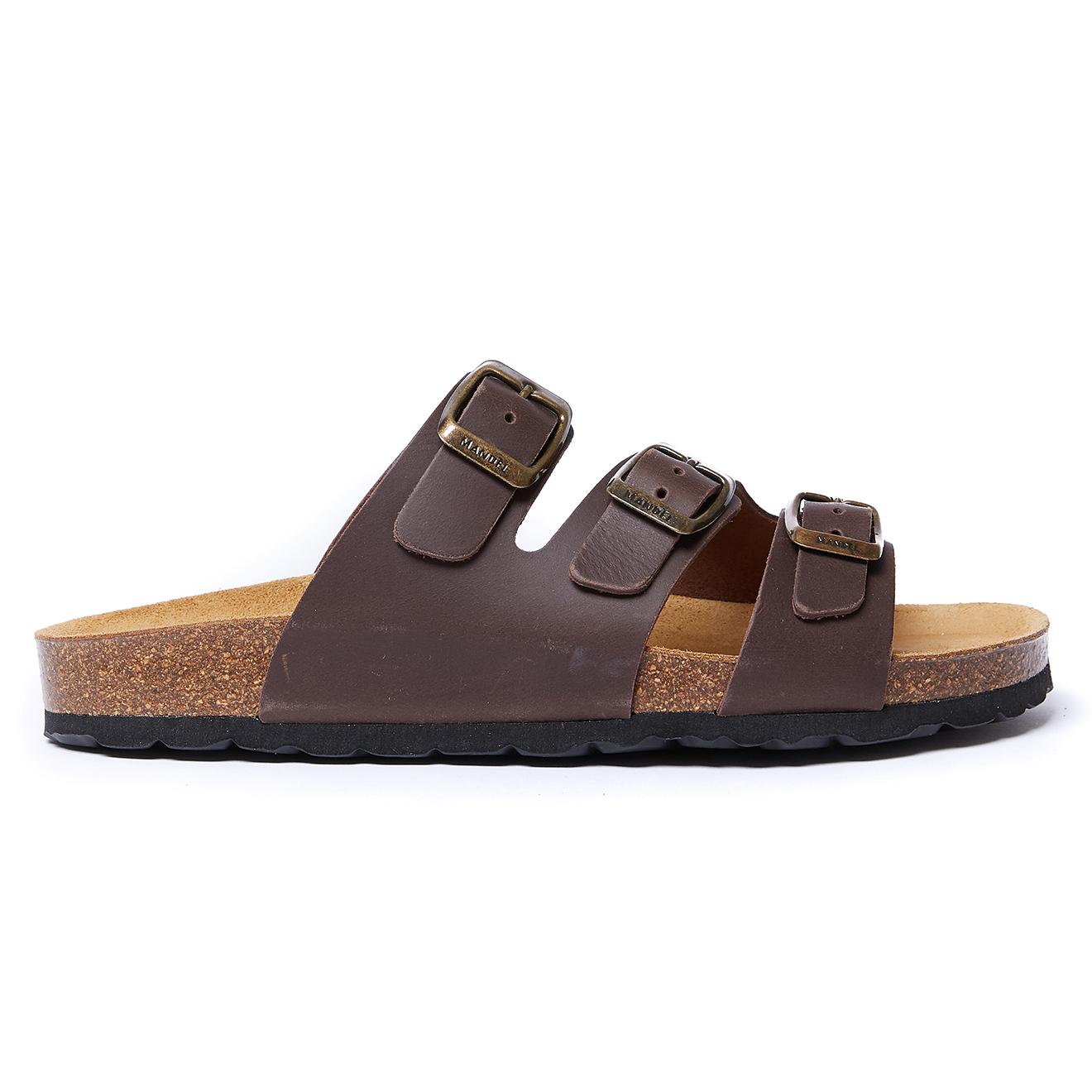 Sandales en Cuir Paco marron foncé