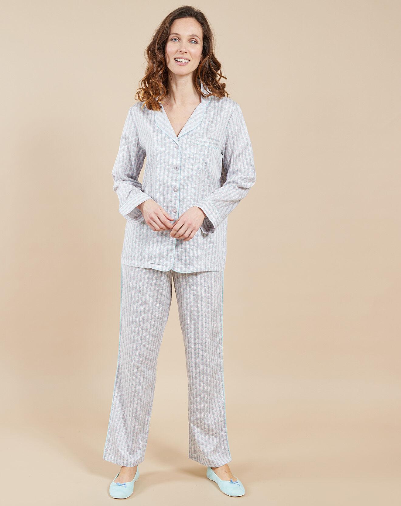 Pyjama Claudie imprimé fantaisie gris/rose