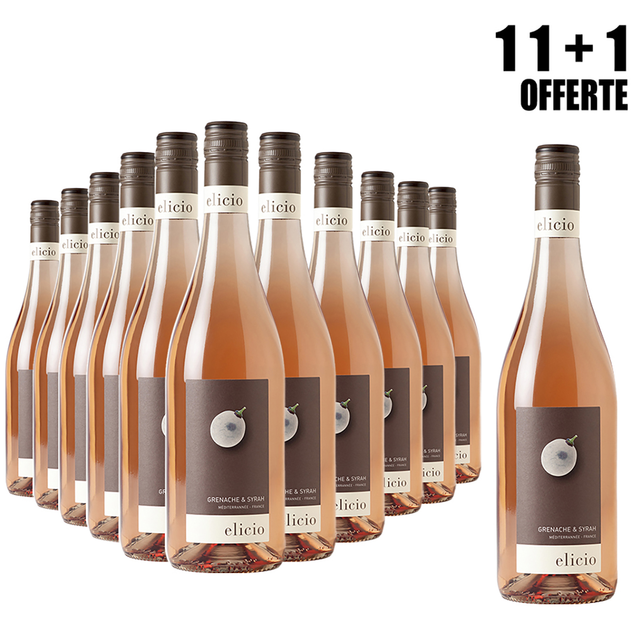 Lot de 11 IGP Méditerranée Rosé Elicio 2018 Cascavel 75cl + 1 Offerte
