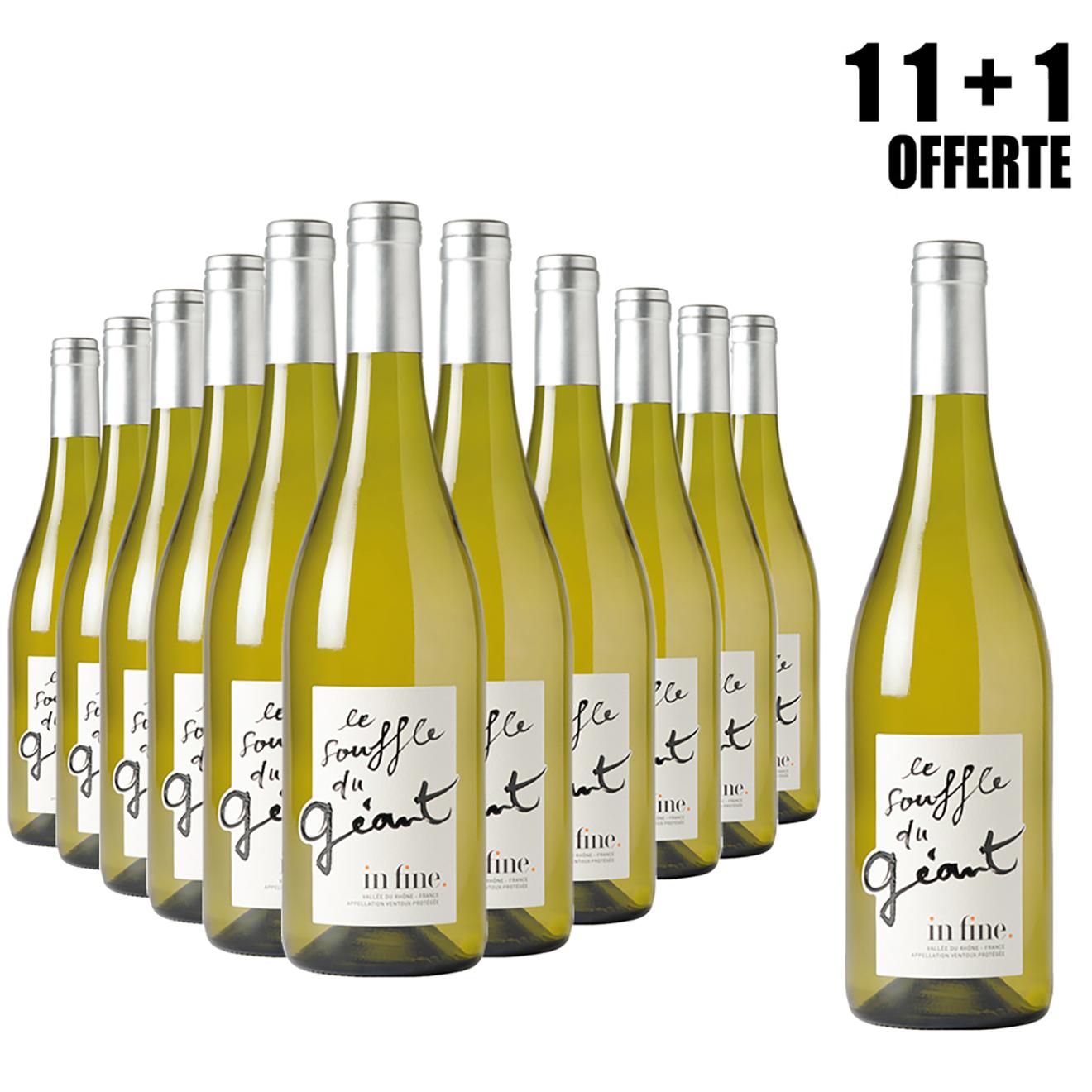 Lot de 11 Ventoux Blanc Souffle du Géant 2018 Cascavel 75cl + 1 Offerte