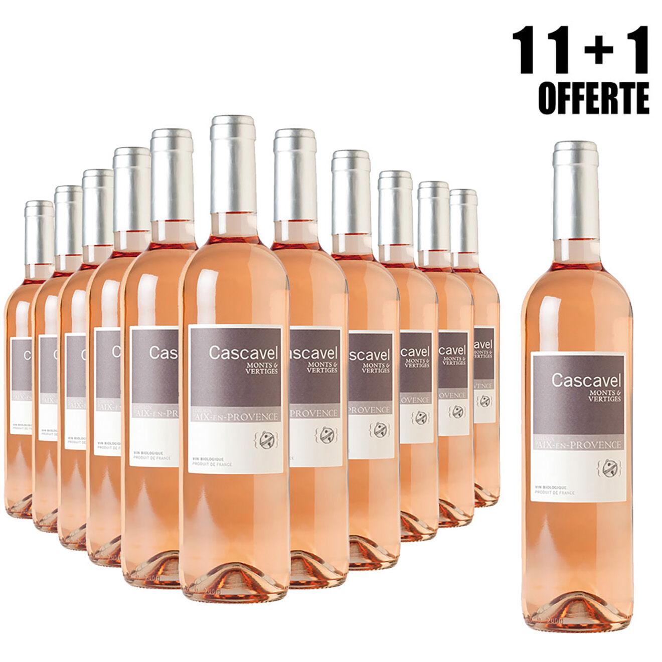 Lot de 11 Coteaux-d'Aix-en-Provence Rosé 2018 Cascavel 75cl + 1 Offerte
